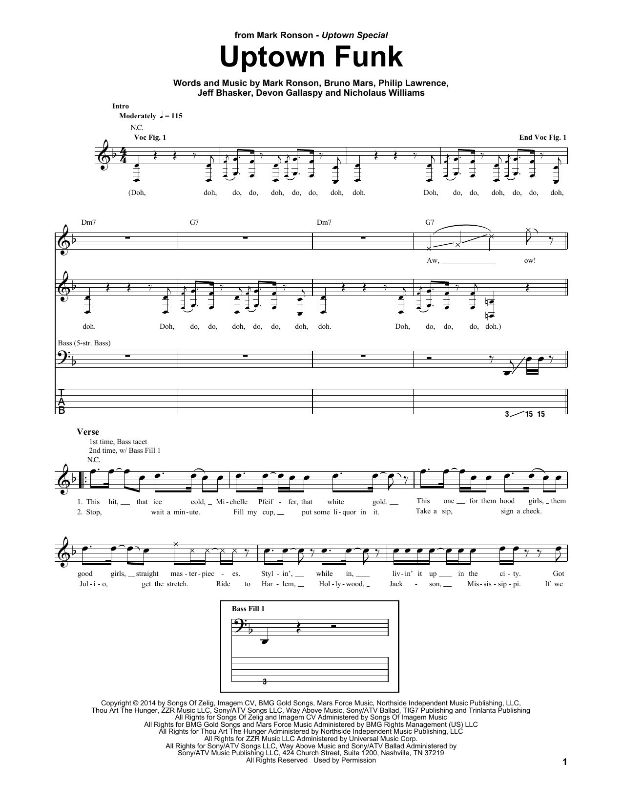Uptown funk sheet music direct