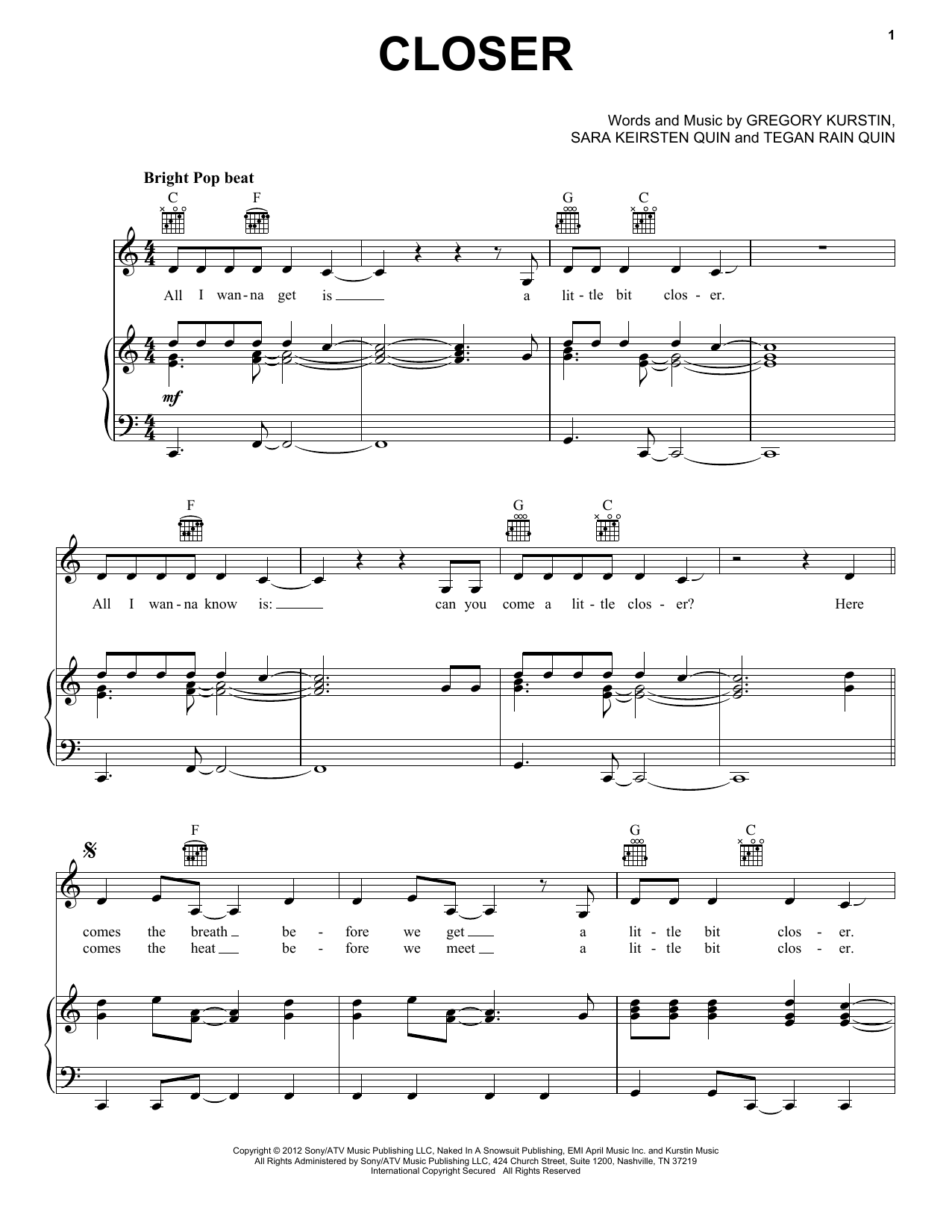 closer piano sheet music pdf