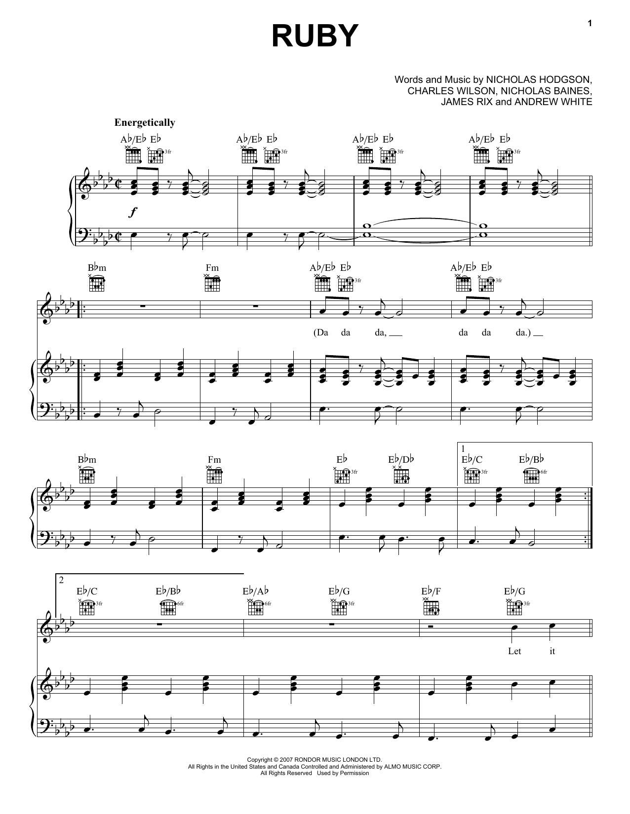 Partition piano Ruby de Kaiser Chiefs - Piano Voix Guitare (Mélodie Main Droite)