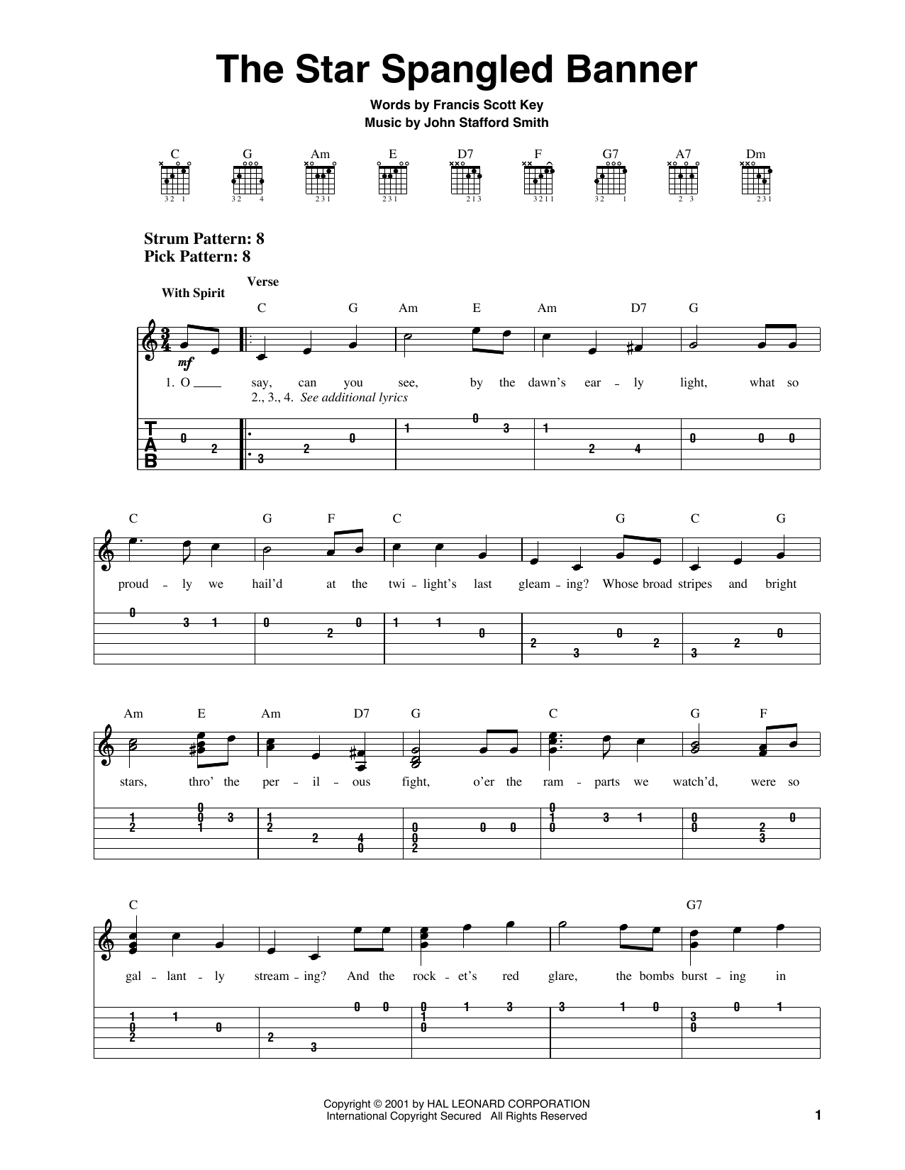 Tablature guitare The Star Spangled Banner de Francis Scott Key - Tablature guitare facile