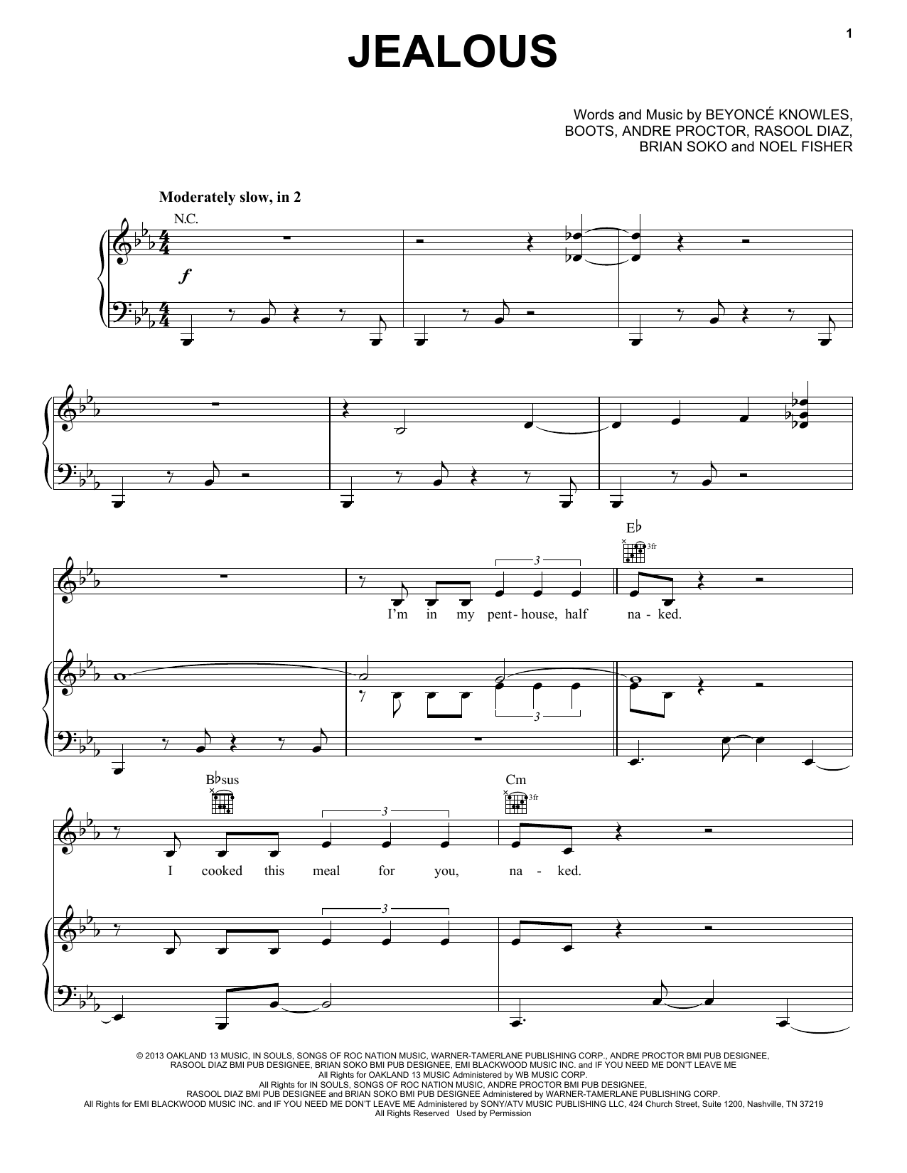 Jealous : Sheet Music Direct