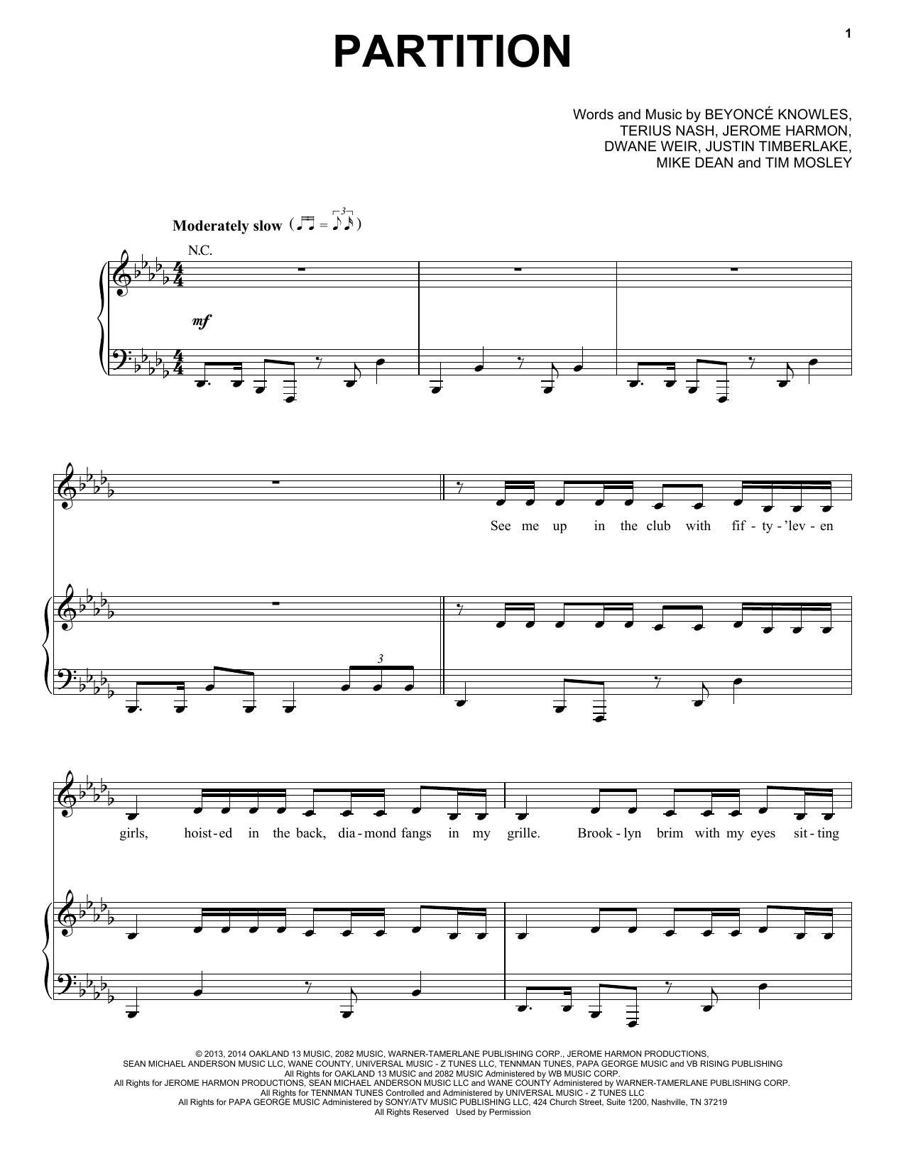 Partition piano Partition de Beyonce - Piano Voix Guitare (Mélodie Main Droite)