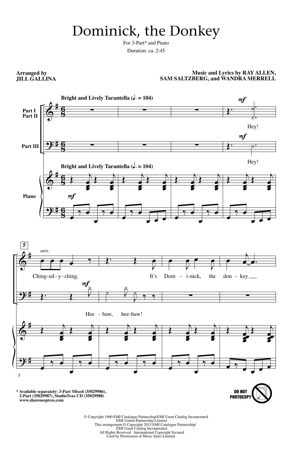 Partition chorale Dominick, The Donkey de Lou Monte - 3 voix mixtes