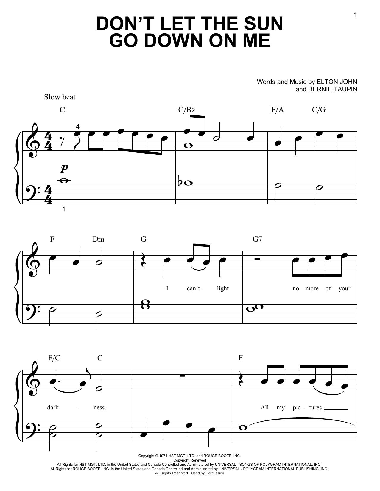 Partition piano Don't Let The Sun Go Down On Me de Elton John - Piano Facile