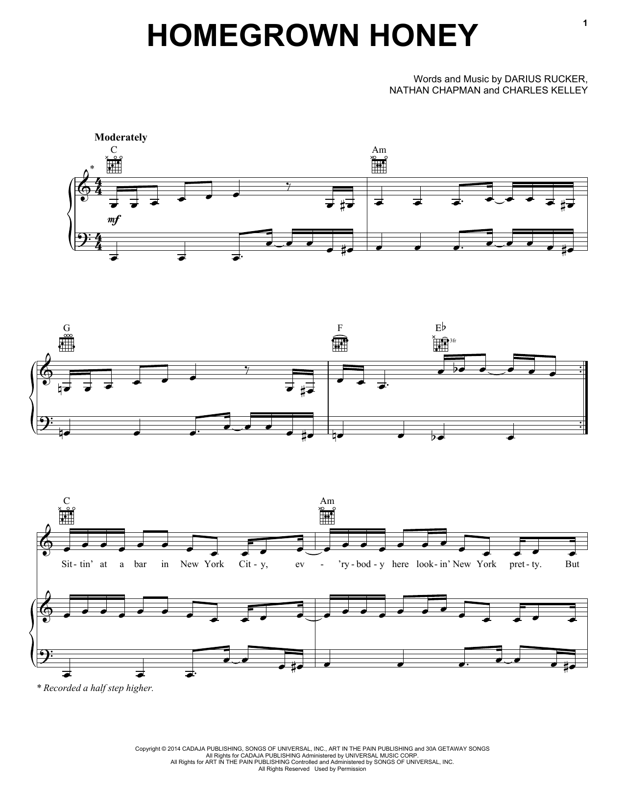 Partition piano Homegrown Honey de Darius Rucker - Piano Voix Guitare (Mélodie Main Droite)