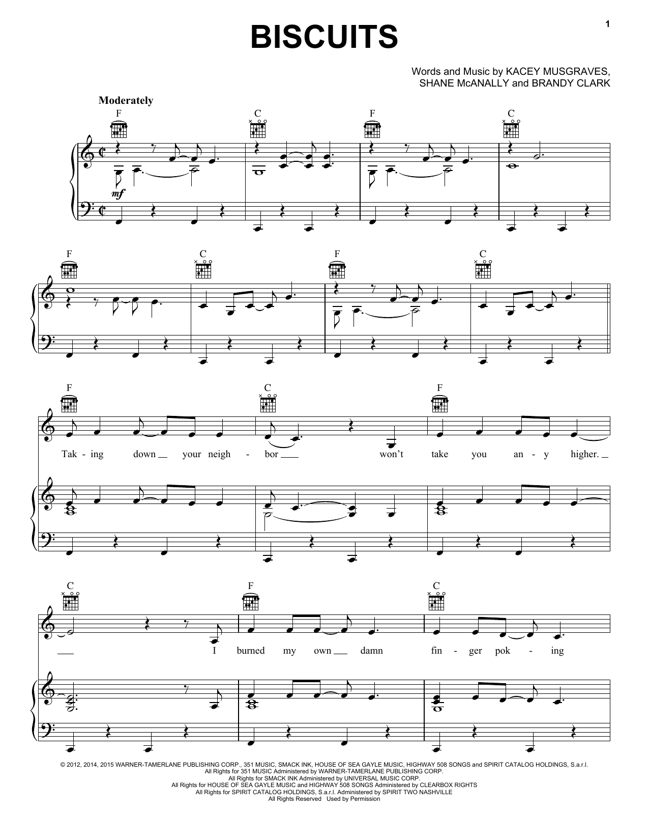 Partition piano Biscuits de Kacey Musgraves - Piano Voix Guitare (Mélodie Main Droite)