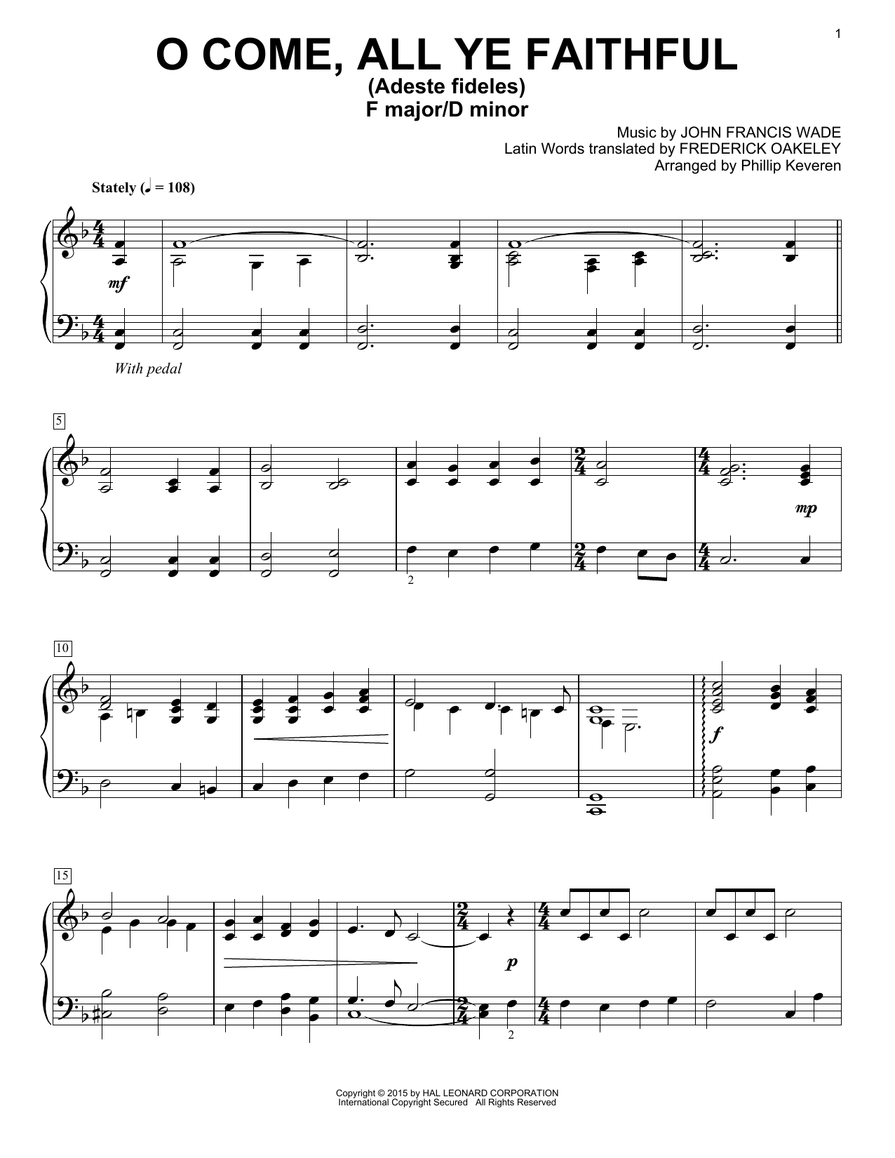 O Come, All Ye Faithful (Adeste Fideles) : Sheet Music Direct