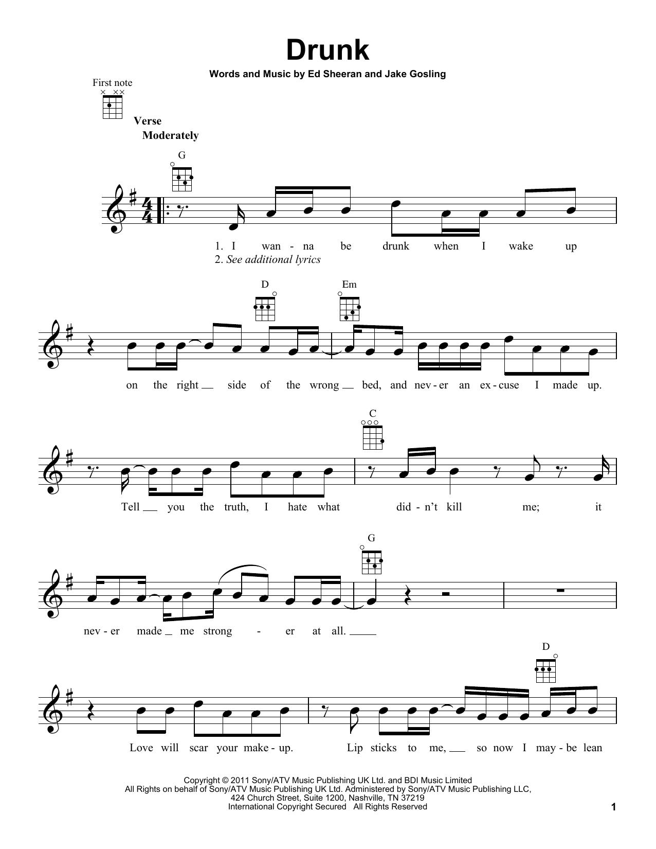 Tablature guitare Drunk de Ed Sheeran - Ukulele