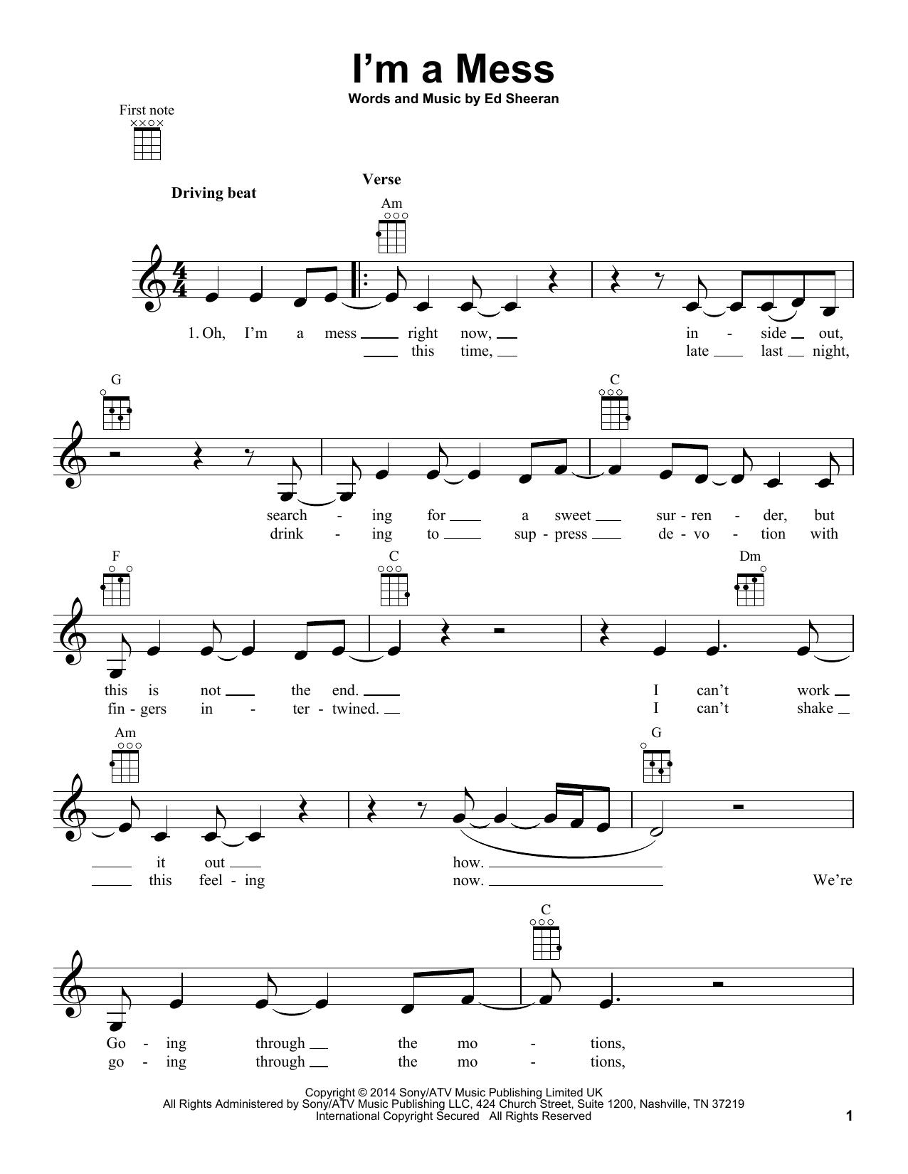 Tablature guitare I'm A Mess de Ed Sheeran - Ukulele