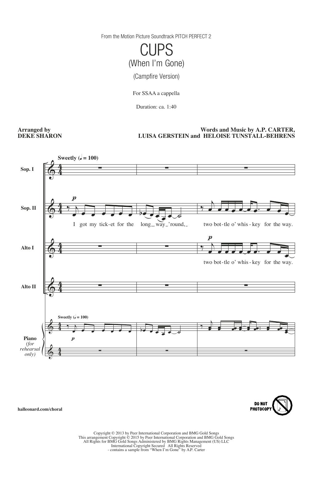 Partition chorale Cups (When I'm Gone) de  - SSA