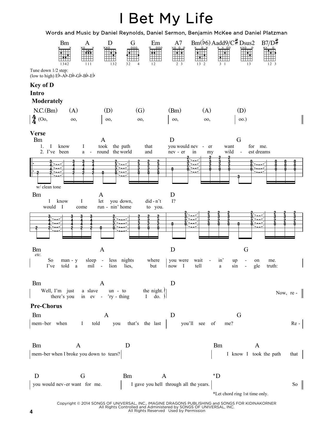 Tablature guitare I Bet My Life de Imagine Dragons - Tablature Guitare Lead