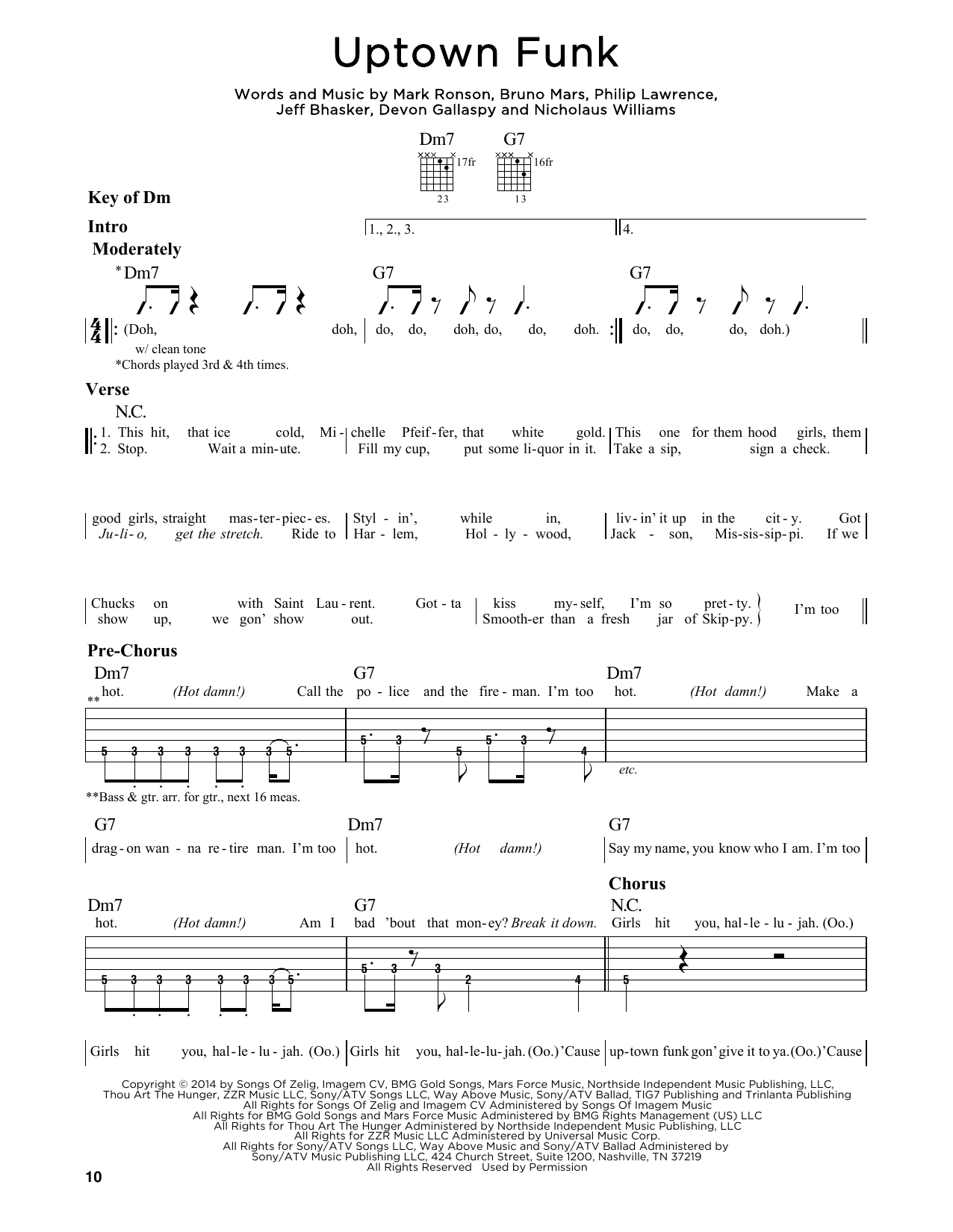 Uptown Funk by Mark Ronson ft. Bruno Mars - Guitar Lead Sheet - Guitar Instructor