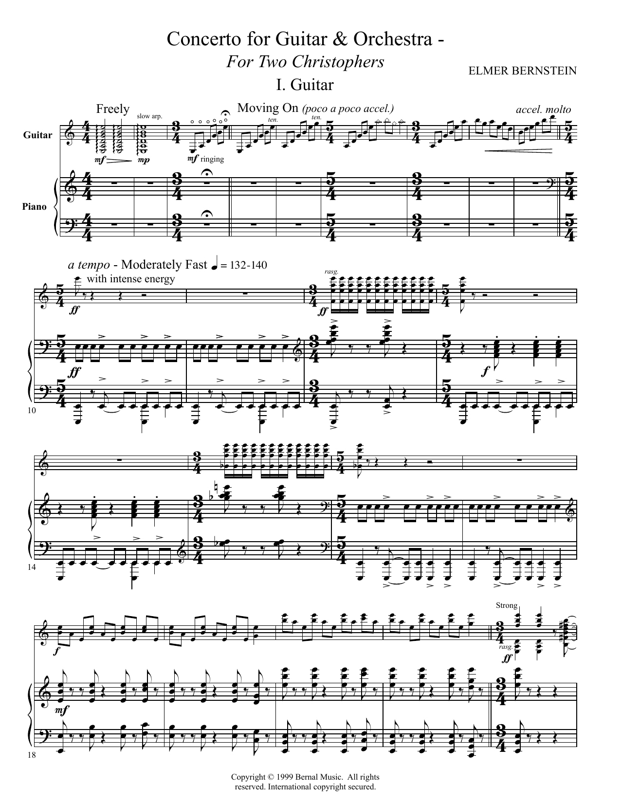 Tablature guitare Concerto For Guitar And Orchestra - For Two Christophers de Elmer Bernstein - Guitare