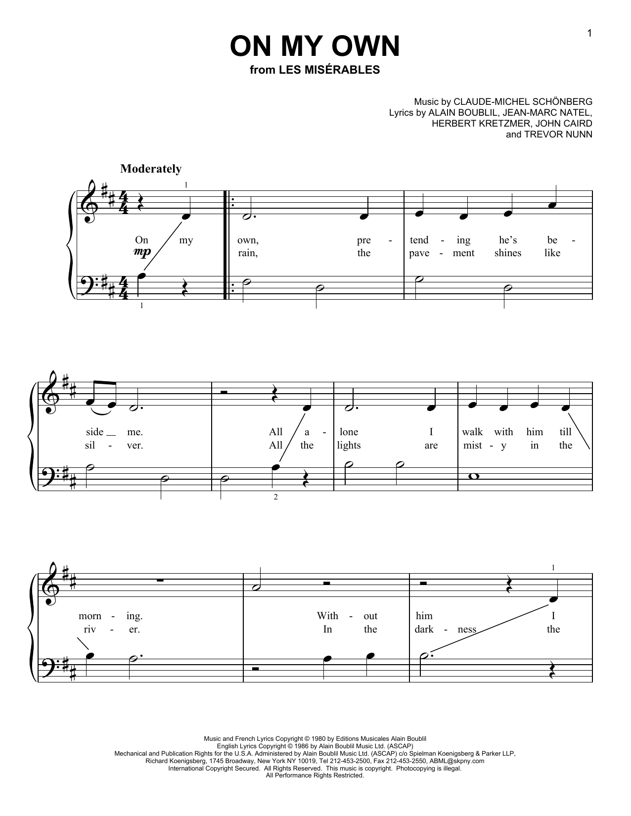 Partition piano On My Own de Claude-Michel Schonberg - Piano Facile