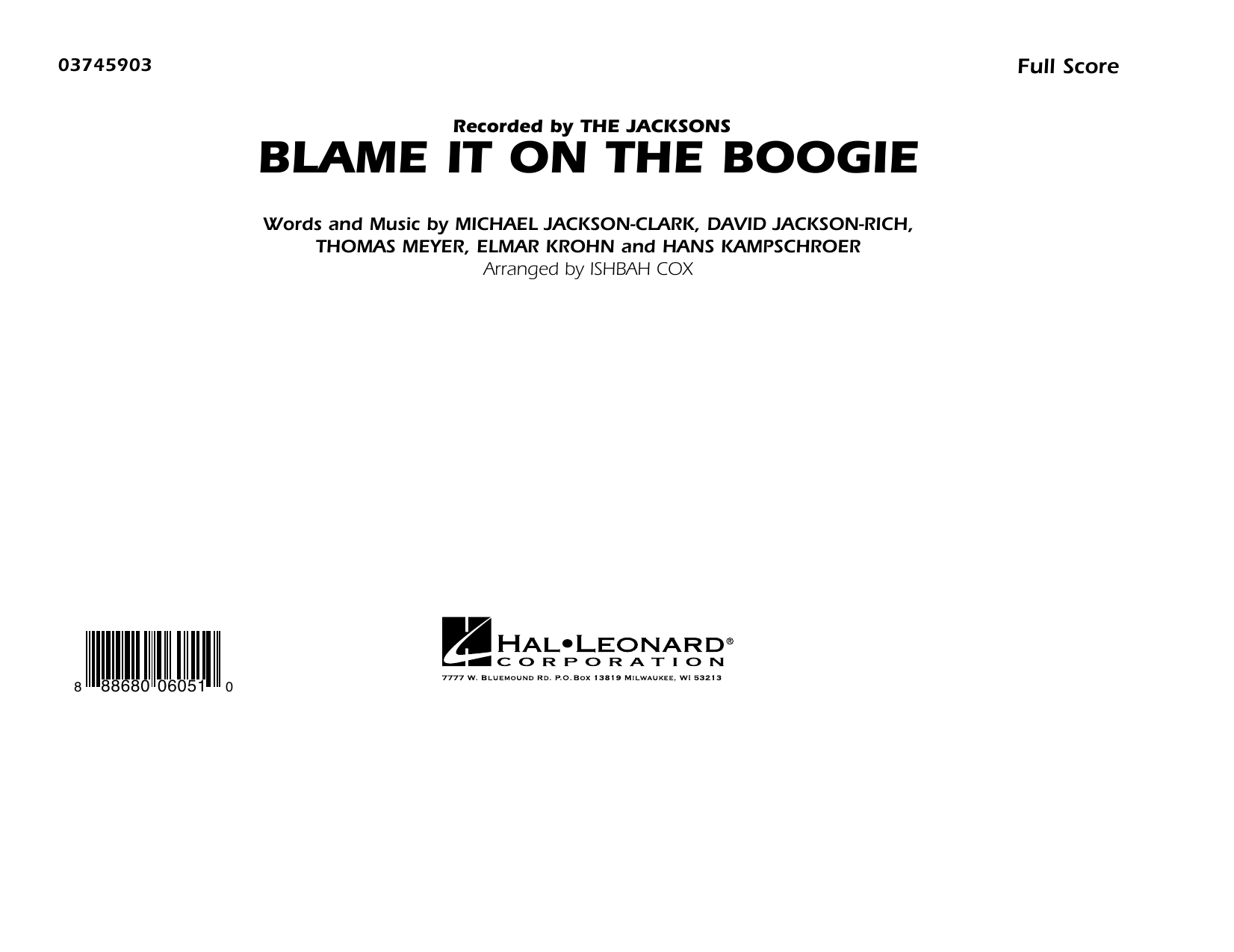 Blame It on the Boogie (COMPLETE) sheet music for marching band by Ishbah Cox