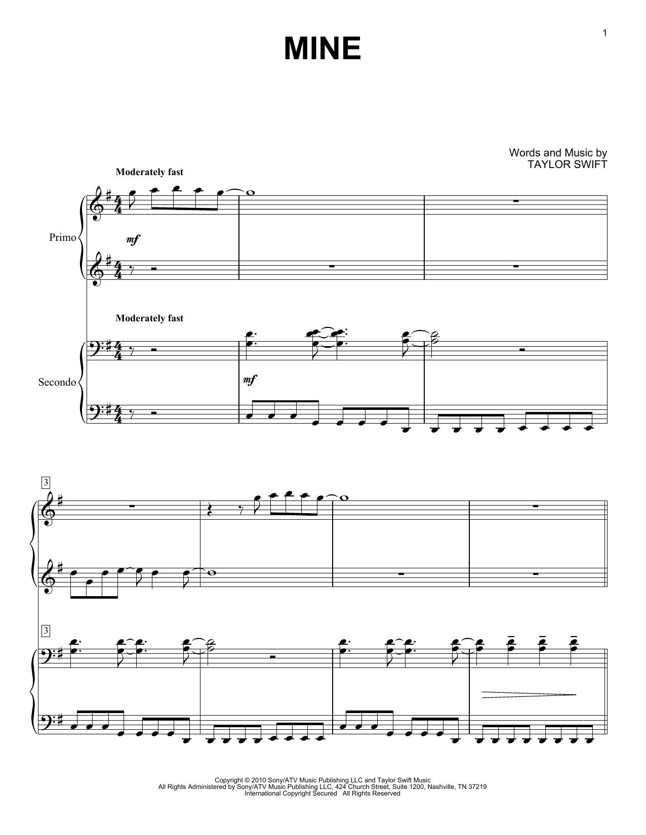 Partition piano Mine de Taylor Swift - 4 mains