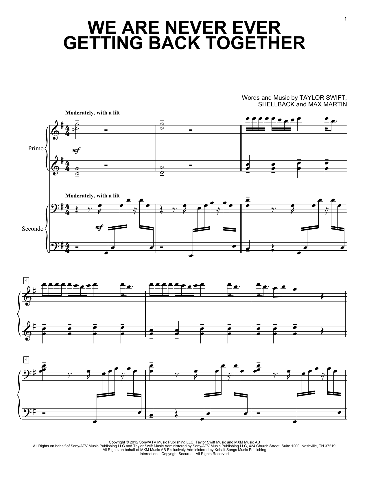 Partition piano We Are Never Ever Getting Back Together de Taylor Swift - 4 mains