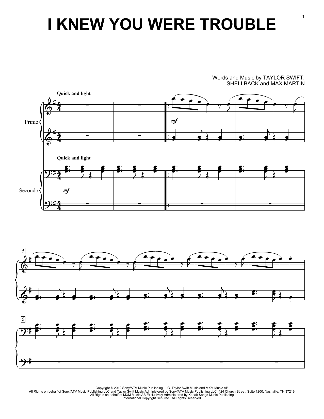 Partition piano I Knew You Were Trouble de Taylor Swift - 4 mains