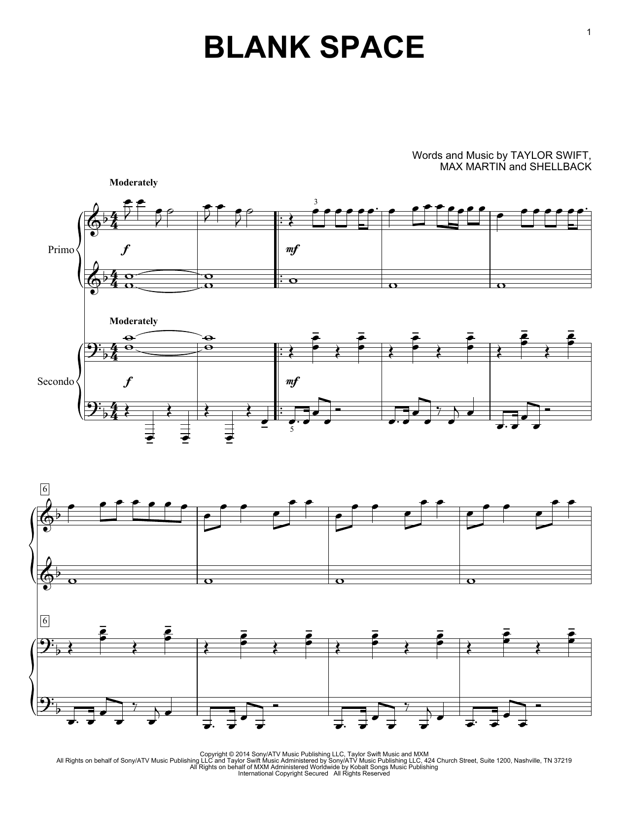 Partition piano Blank Space de Taylor Swift - 4 mains
