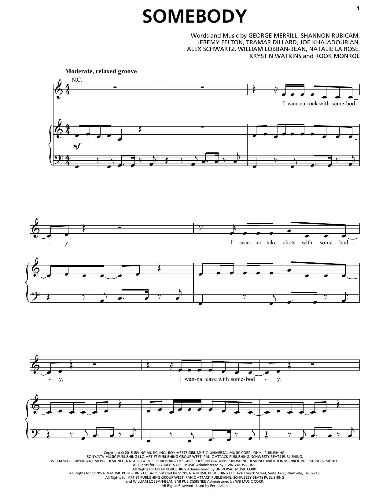 Partition piano Somebody (feat. Jeremih) de Natalie La Rose - Piano Voix Guitare (Mélodie Main Droite)