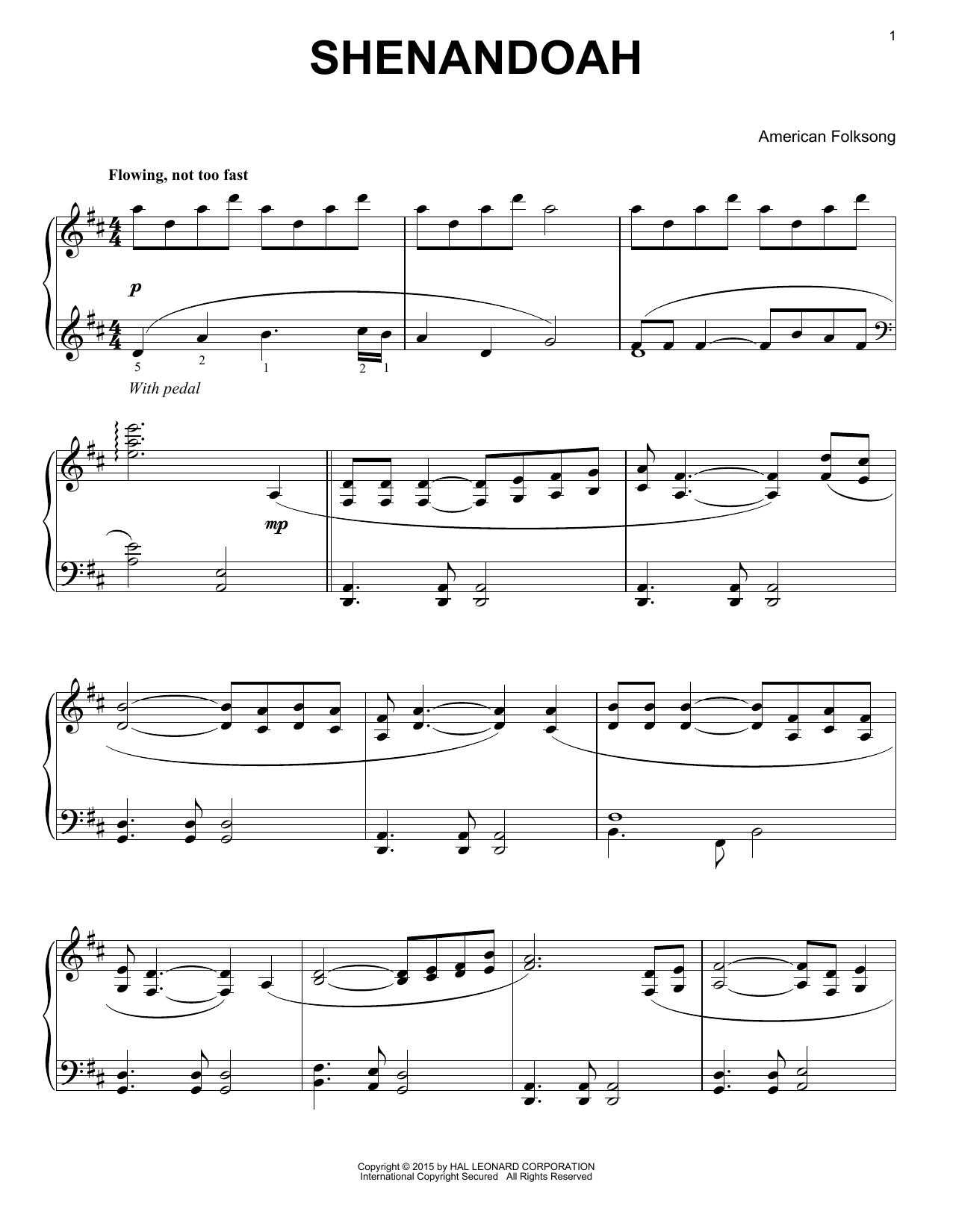 Partition piano Shenandoah de American Folksong - Piano Solo
