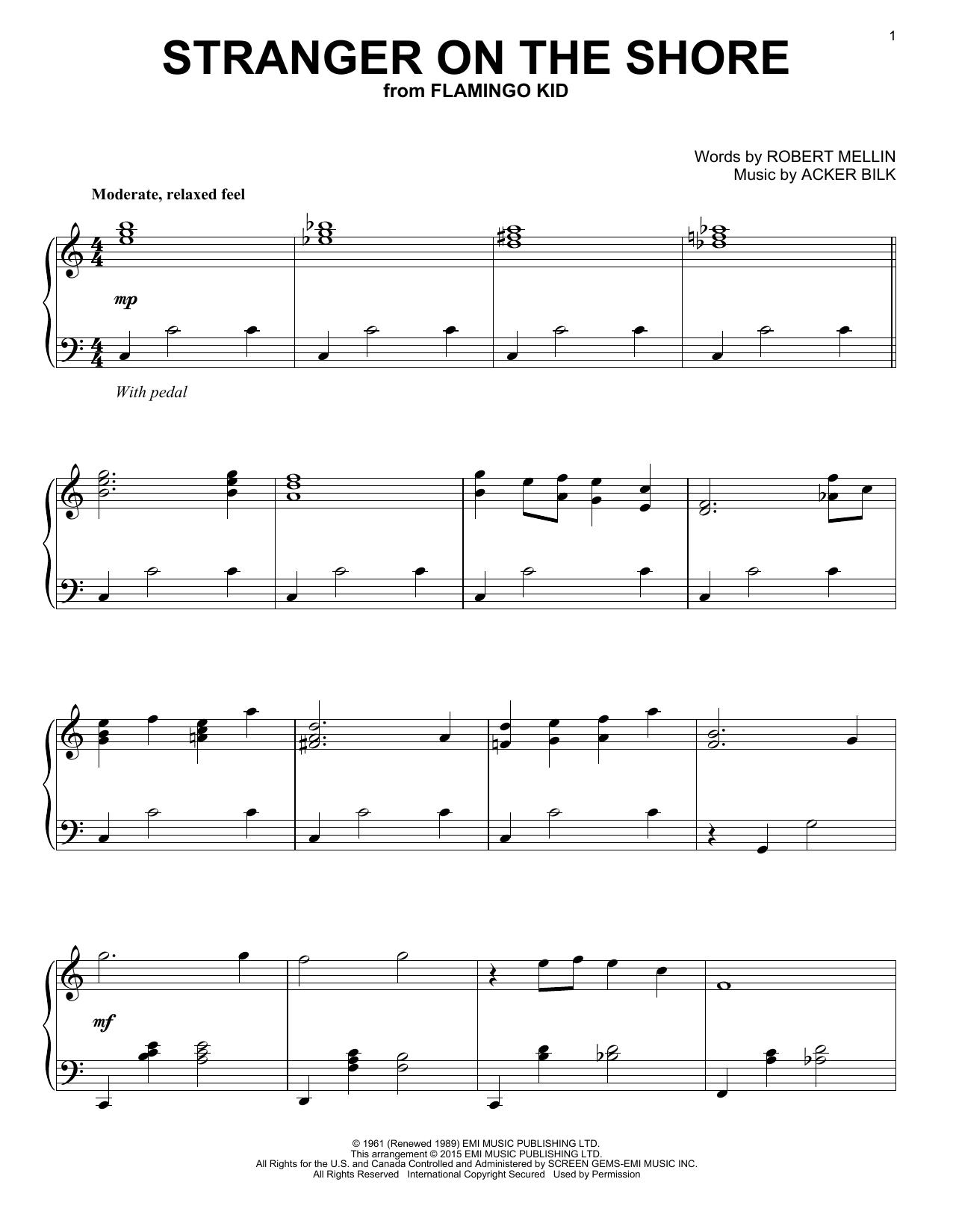 Partition piano Stranger On The Shore de Acker Bilk - Piano Solo