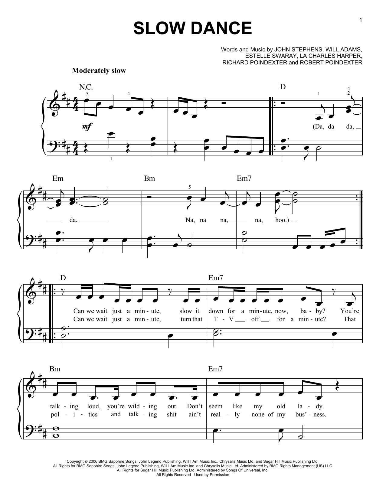 Partition piano Slow Dance de John Legend - Piano Facile