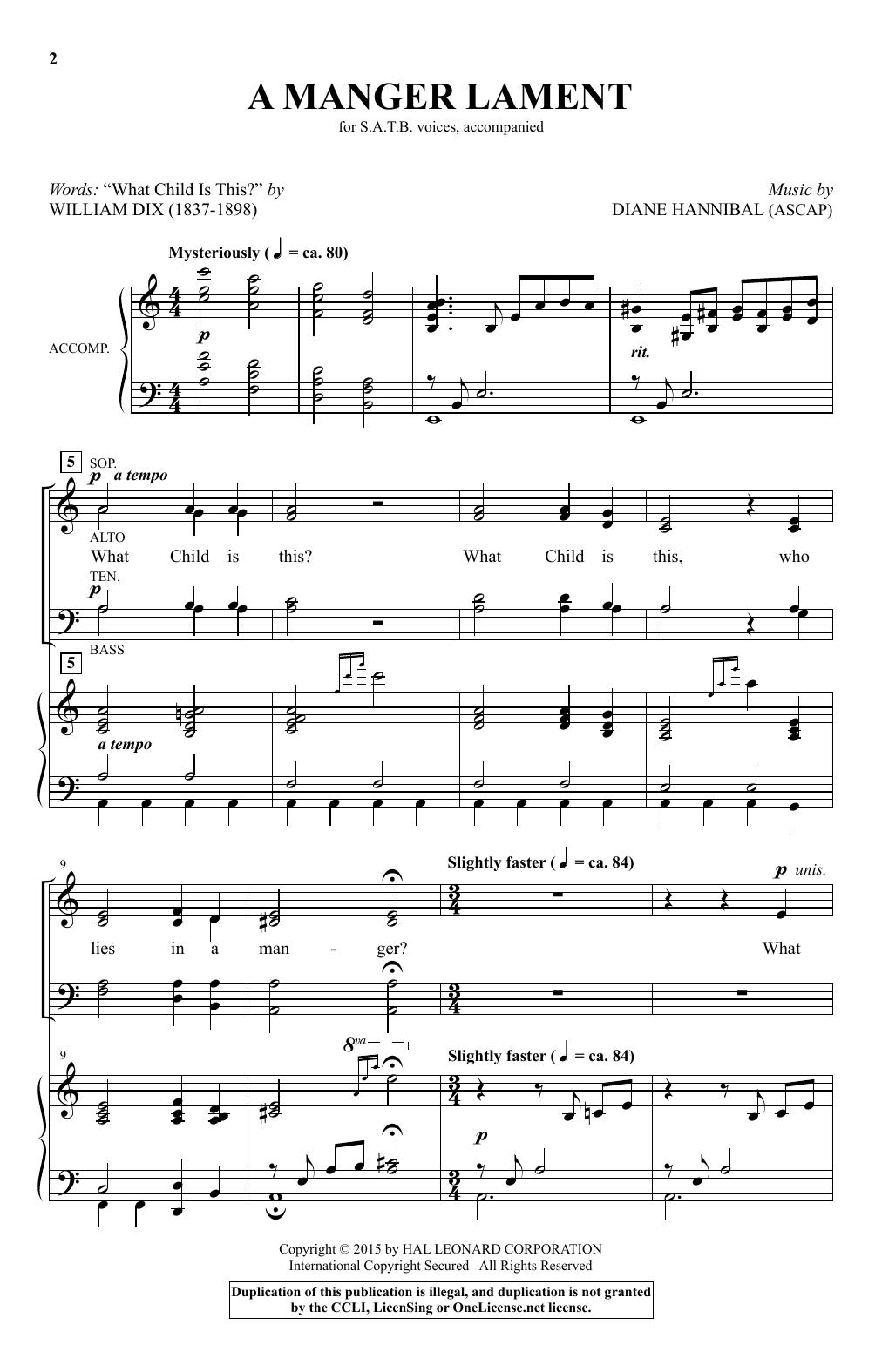 Partition chorale A Manger Lament de Diane Hannibal - SATB