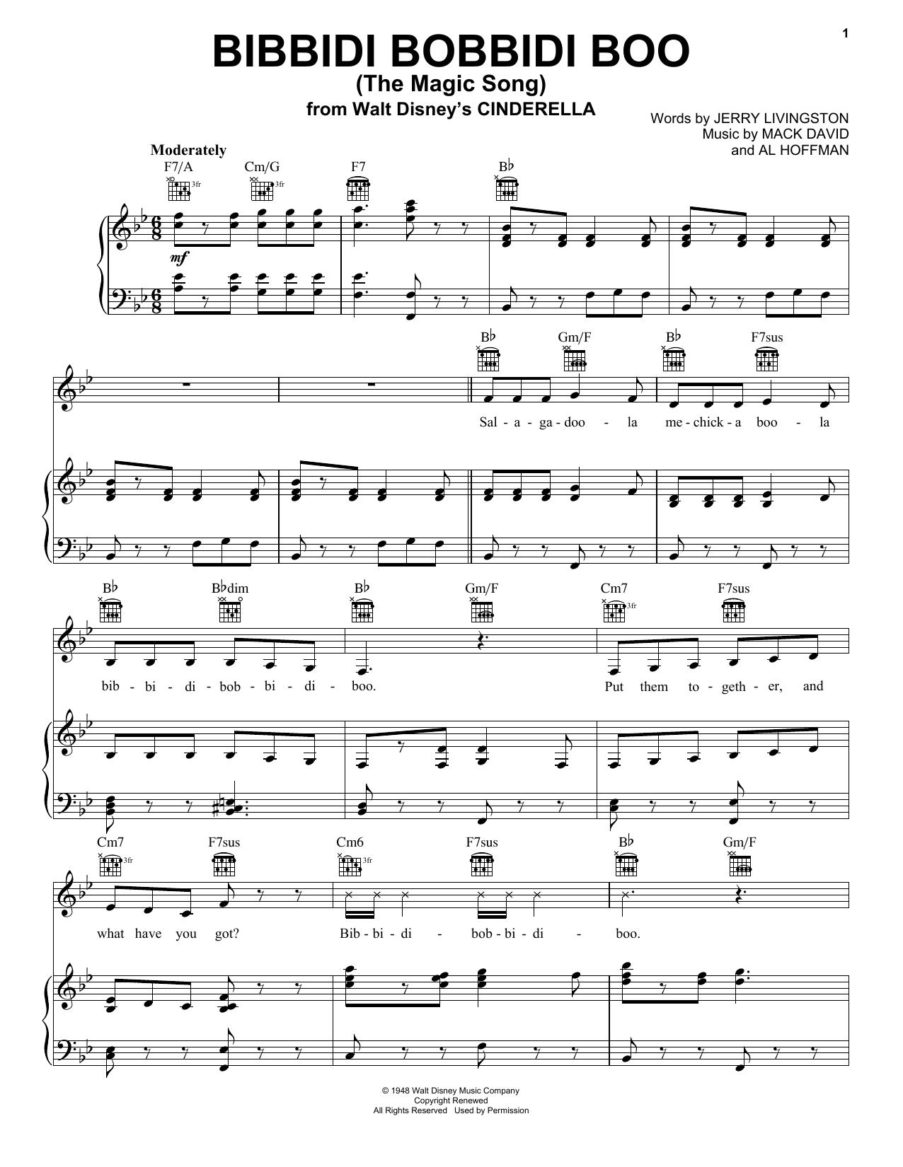 Partition piano Bibbidi-Bobbidi-Boo (The Magic Song) de Mack David - Piano Voix Guitare (Mélodie Main Droite)