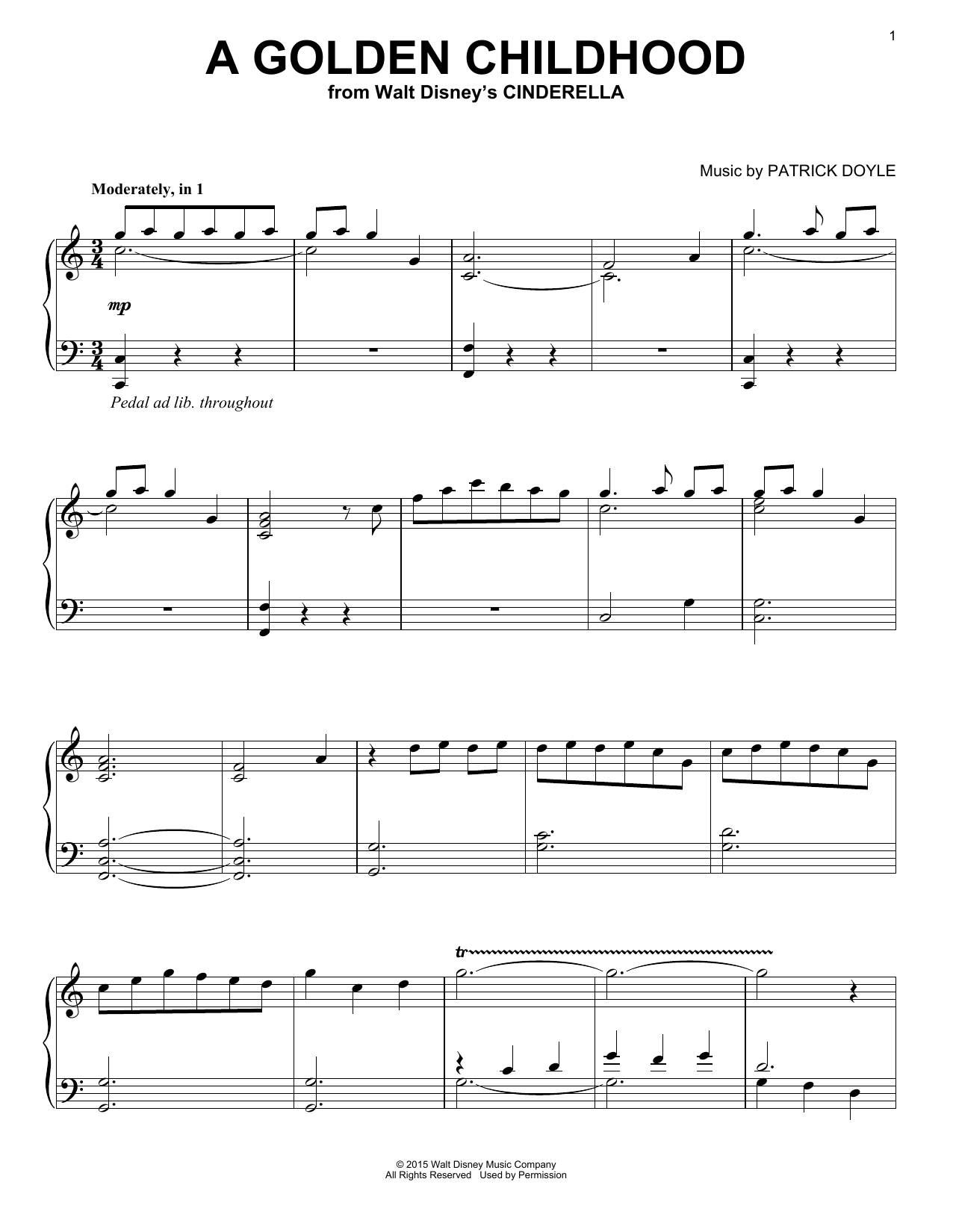 Partition piano A Golden Childhood de Patrick Doyle - Piano Solo
