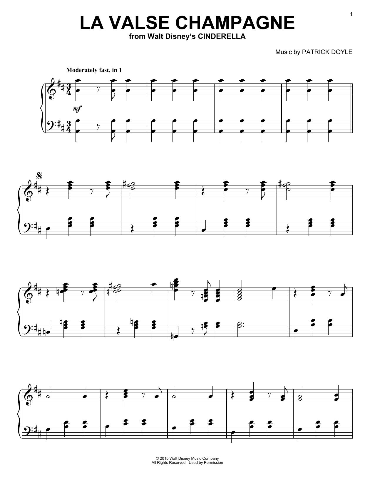 Partition piano La Valse Champagne de Patrick Doyle - Piano Solo