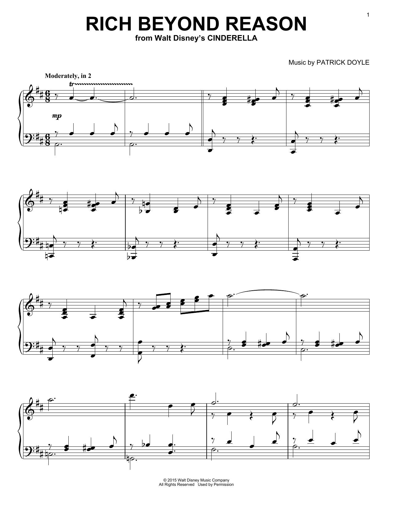 Partition piano Rich Beyond Reason de Patrick Doyle - Piano Solo