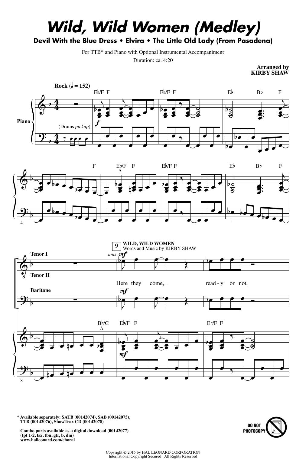 Partition chorale Wild, Wild Women (Medley) de  - TTBB