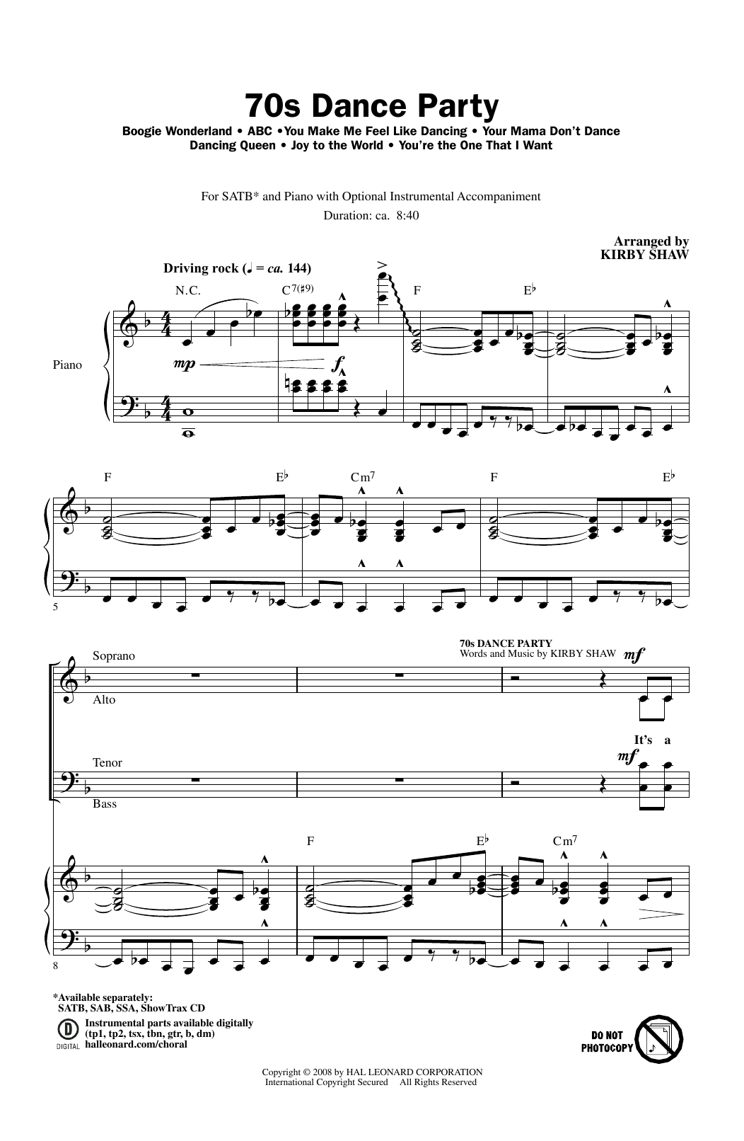 Partition chorale 70s Dance Party (Medley) de The Jackson 5 - SATB