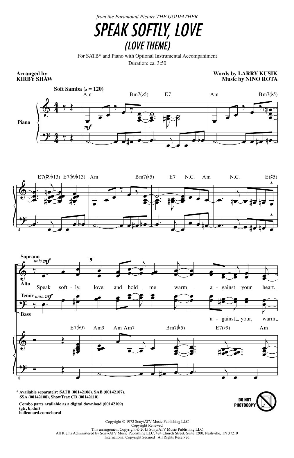 Partition chorale Speak Softly, Love (Love Theme) de Andy Williams - SATB