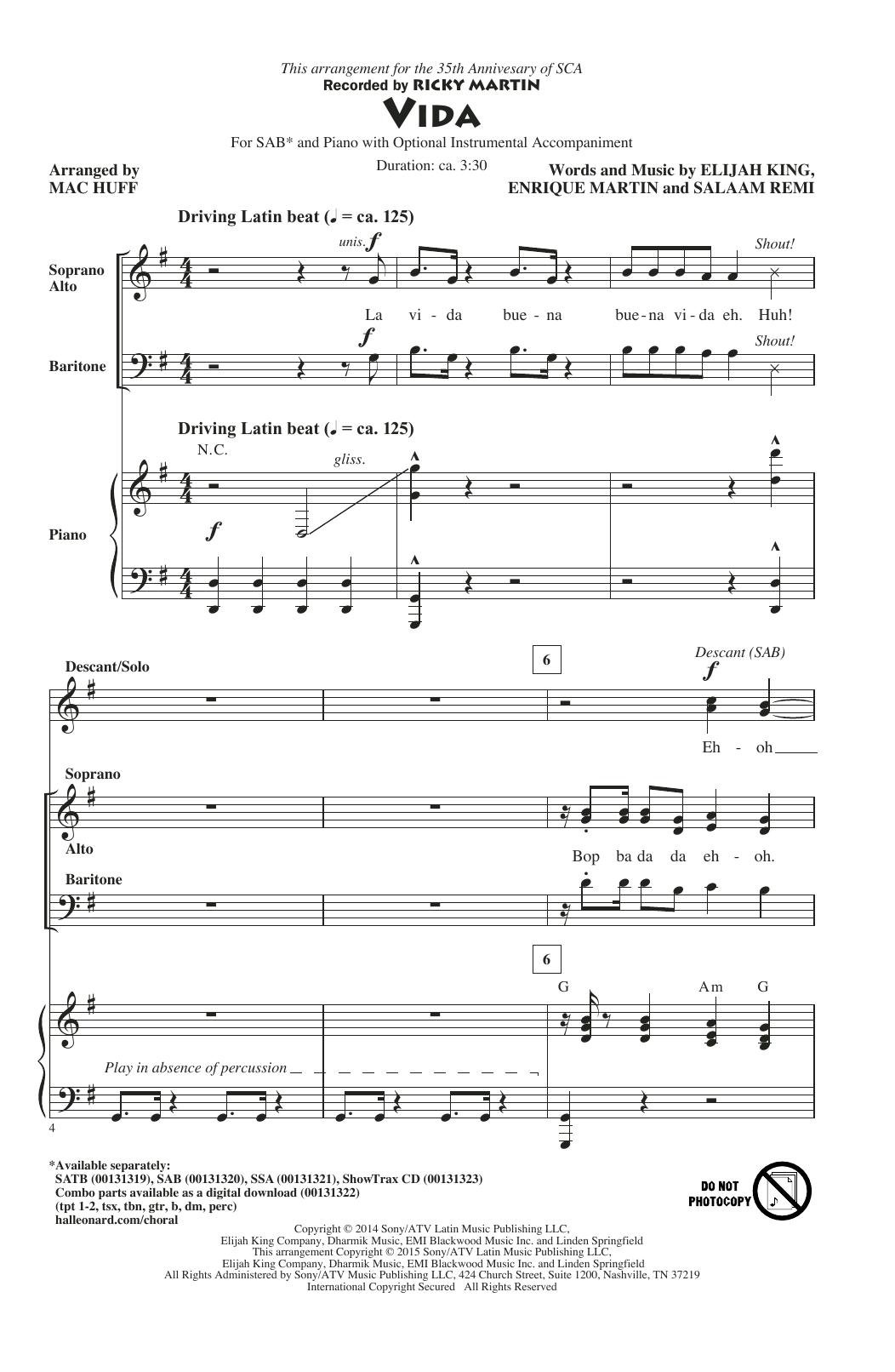 Partition chorale Vida de Ricky Martin - SAB