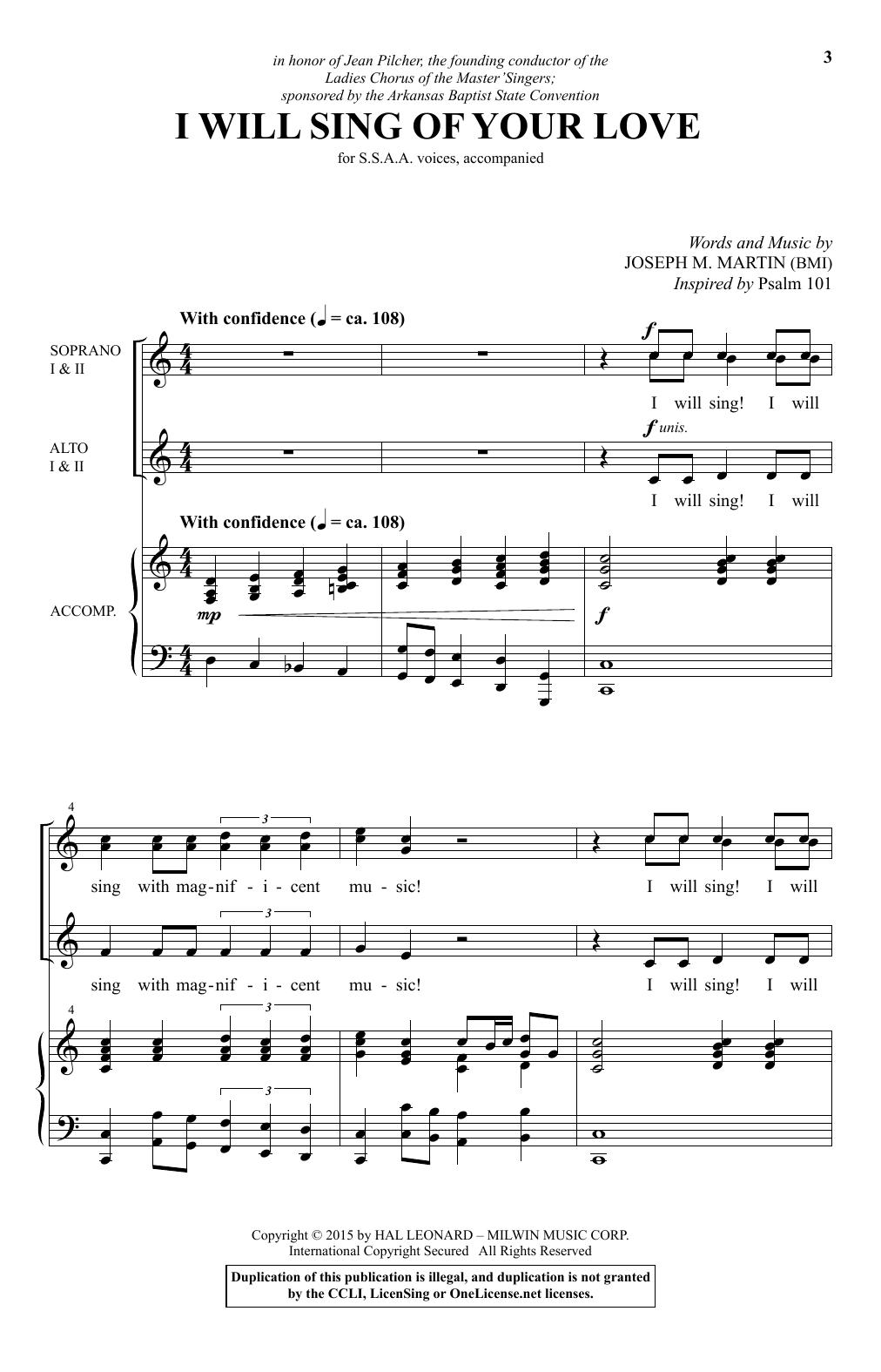 Partition chorale I Will Sing Of Your Love de Joseph M. Martin - SSA