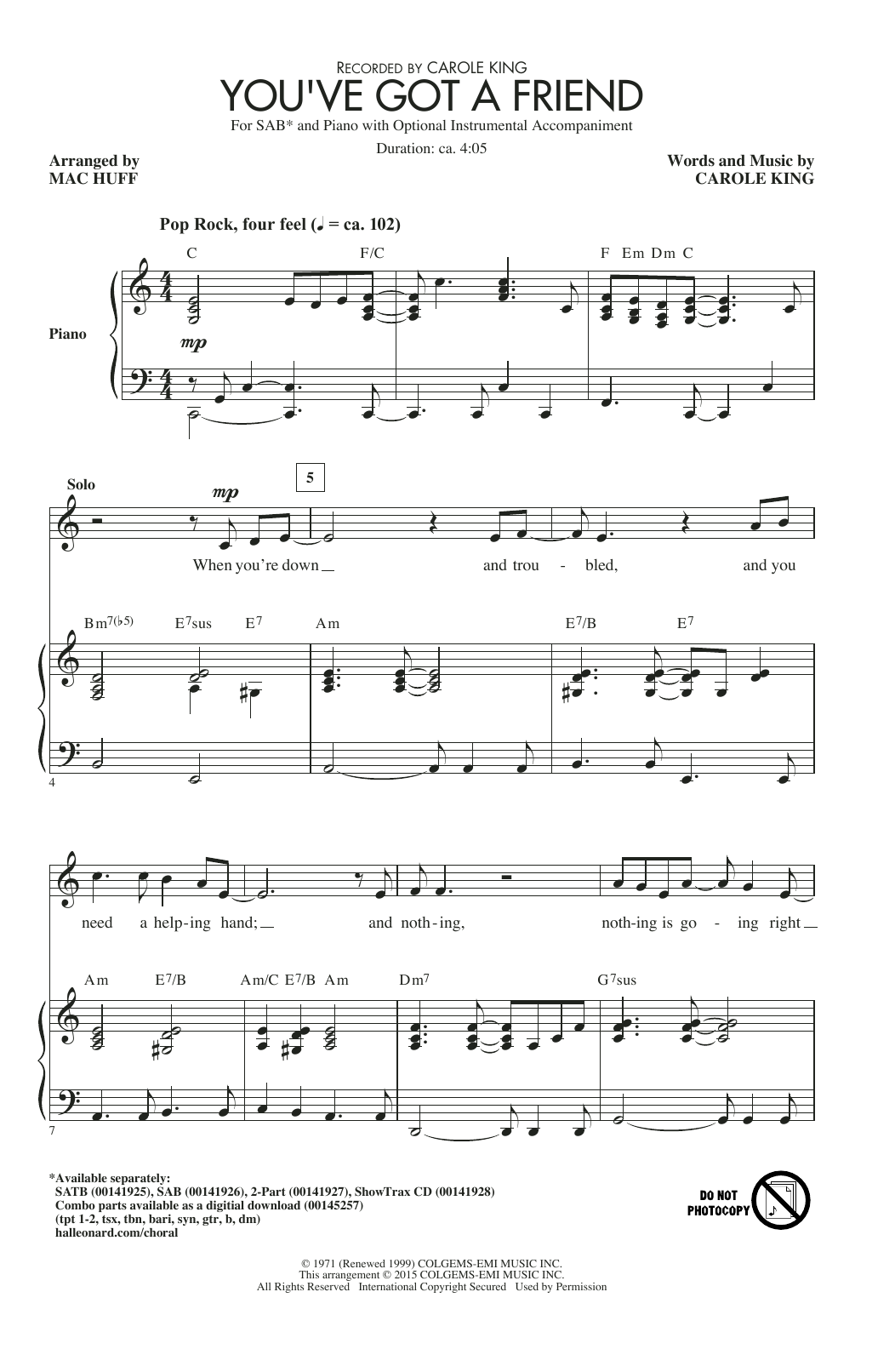 Partition chorale You've Got A Friend de James Taylor - SAB