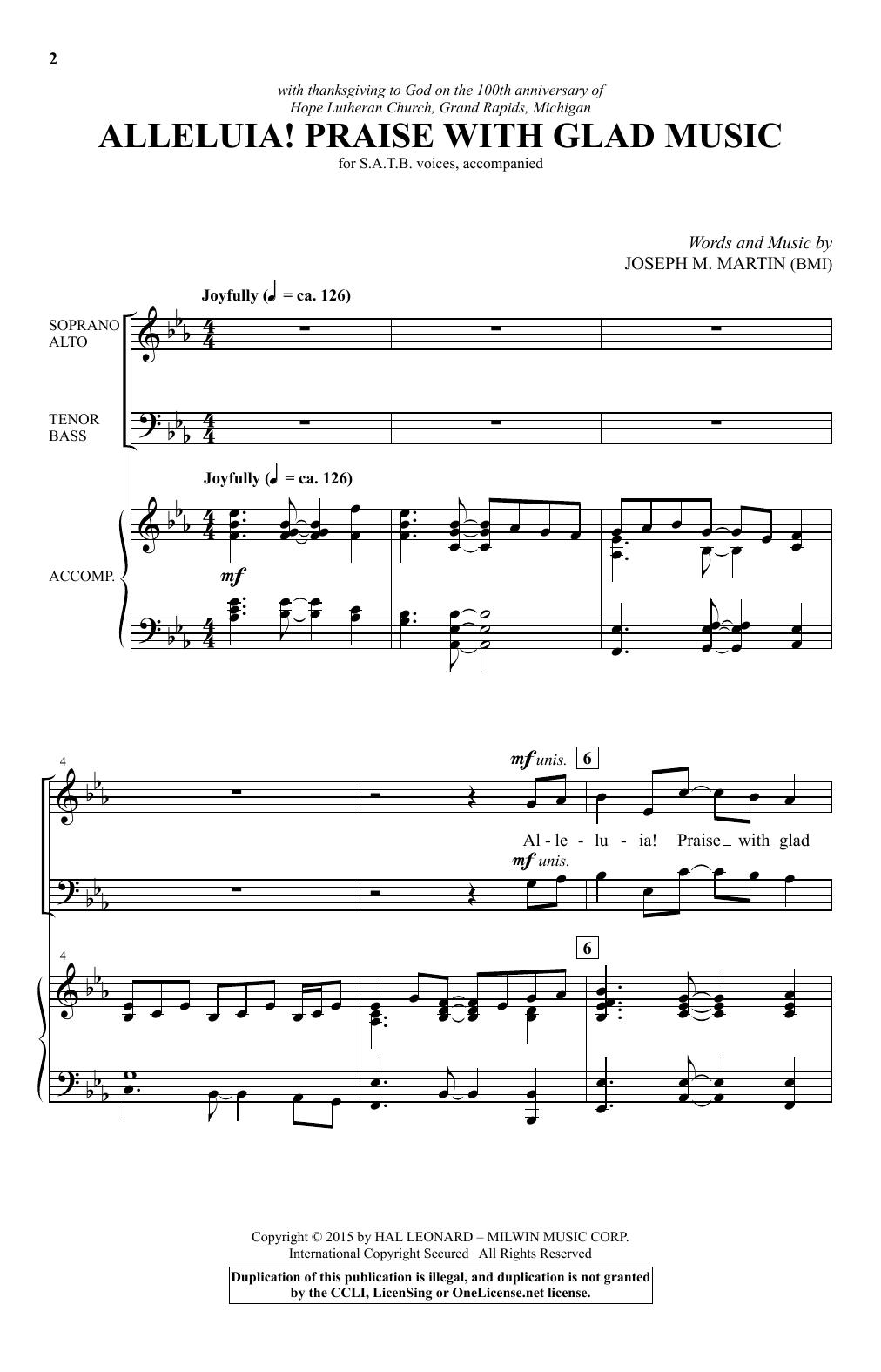 Partition chorale Alleluia! Praise With Glad Music de Joseph M. Martin - SATB