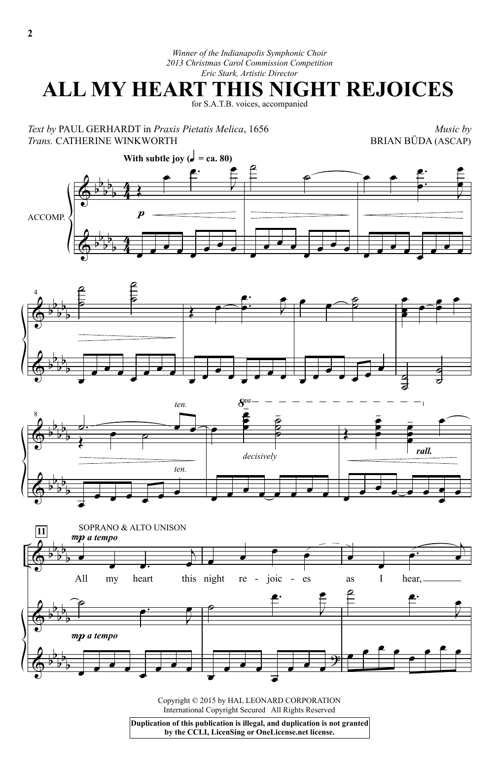 Partition chorale All My Heart This Night Rejoices de  - SATB