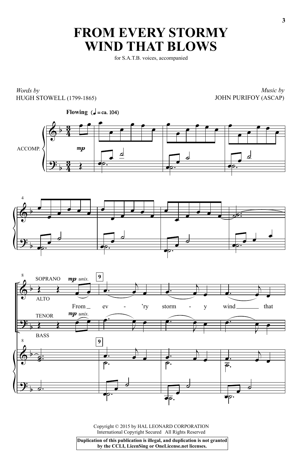 Partition chorale From Every Stormy Wind That Blows de  - SATB