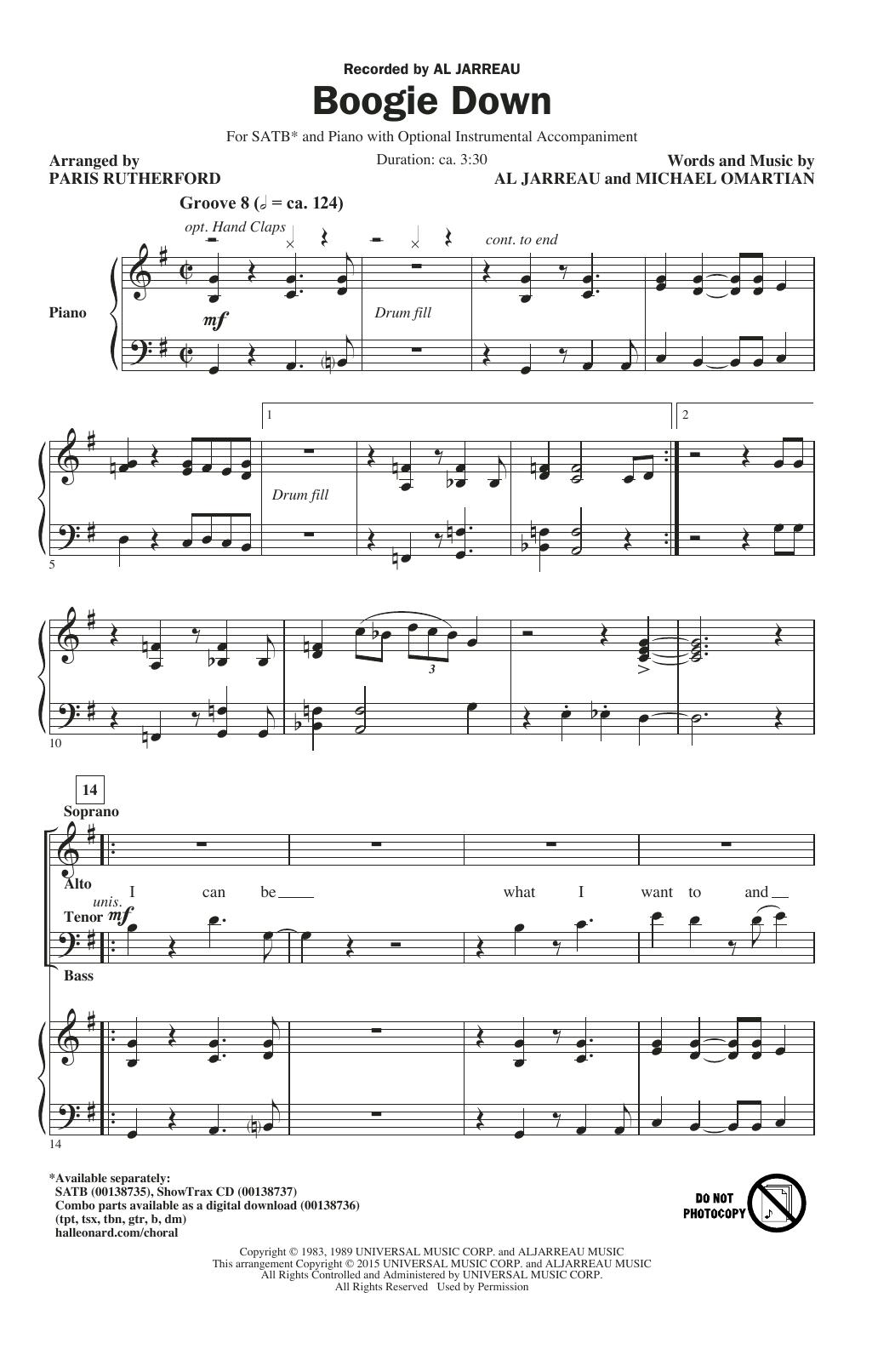 Partition chorale Boogie Down de Al Jarreau - SATB