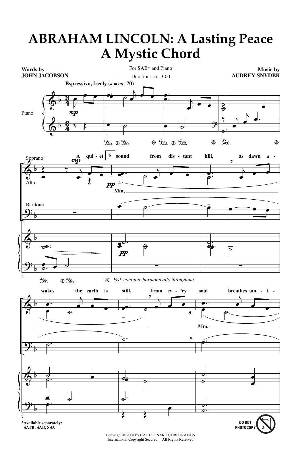 Partition chorale Abraham Lincoln de John Jacobson - SAB