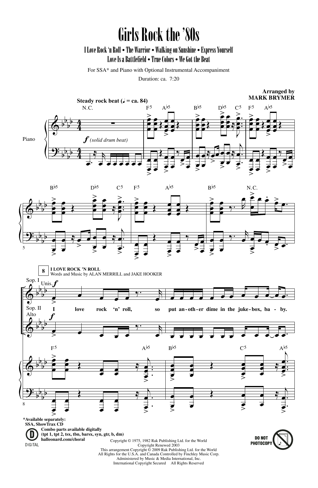 Partition chorale Girls Rock The '80s (Medley) de Scandal - SSA