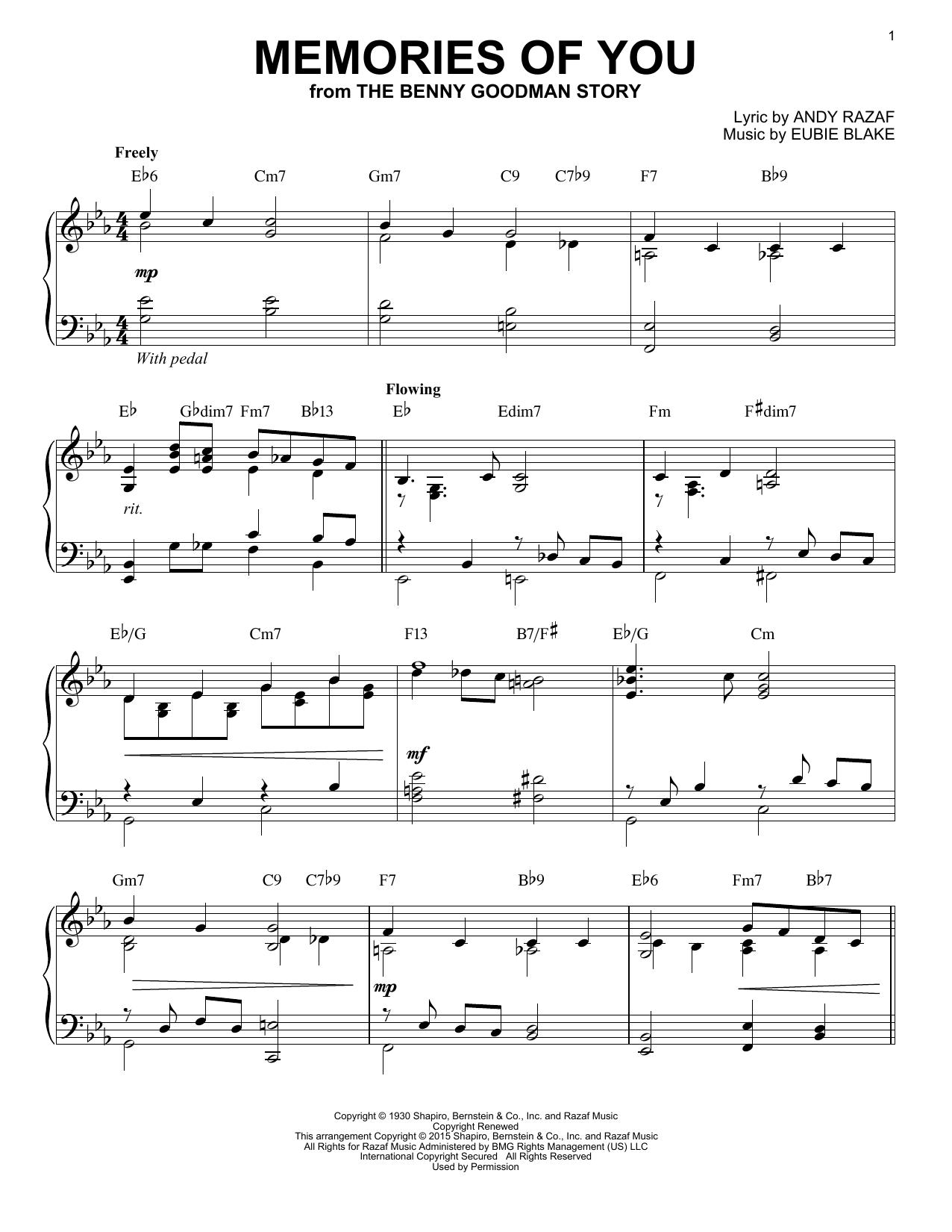 Partition piano Memories Of You de Eubie Blake - Piano Solo