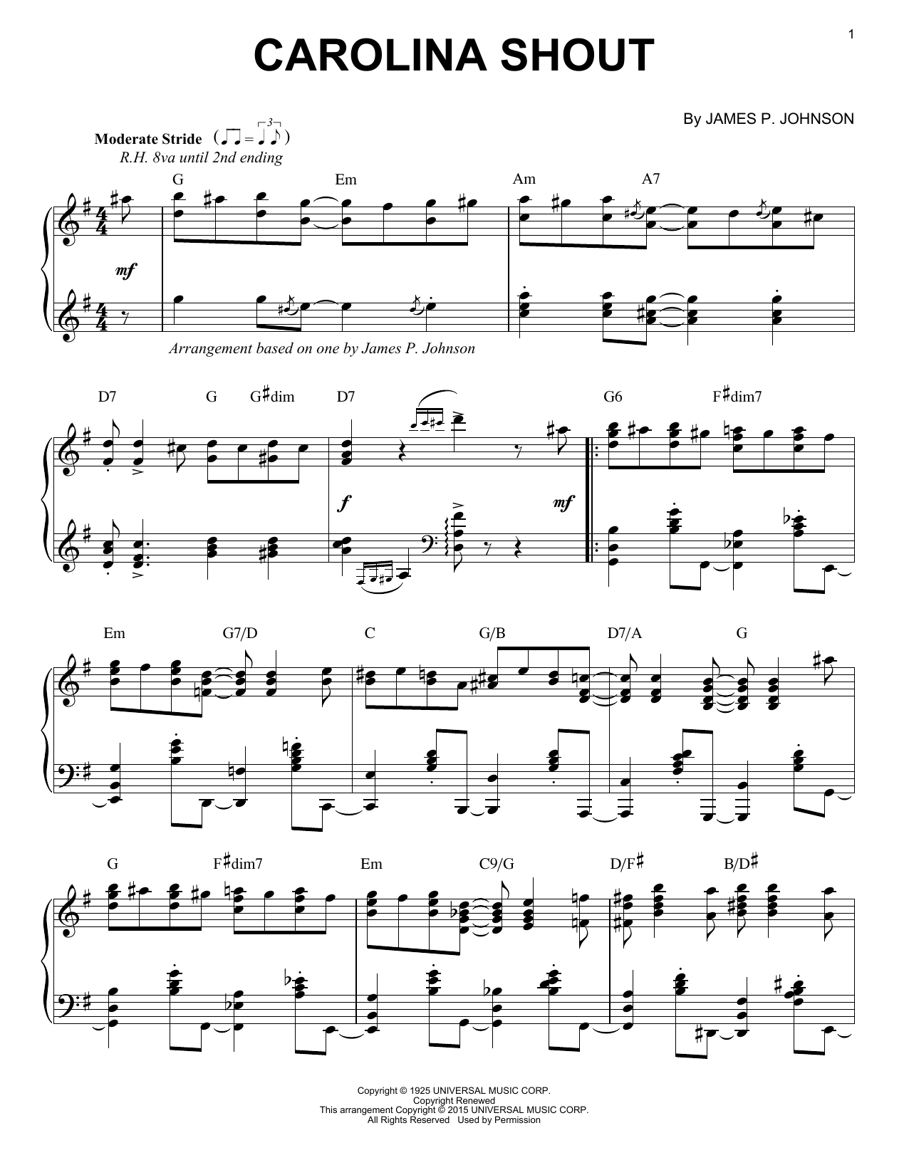 Partition piano Carolina Shout de James P. Johnson - Piano Solo