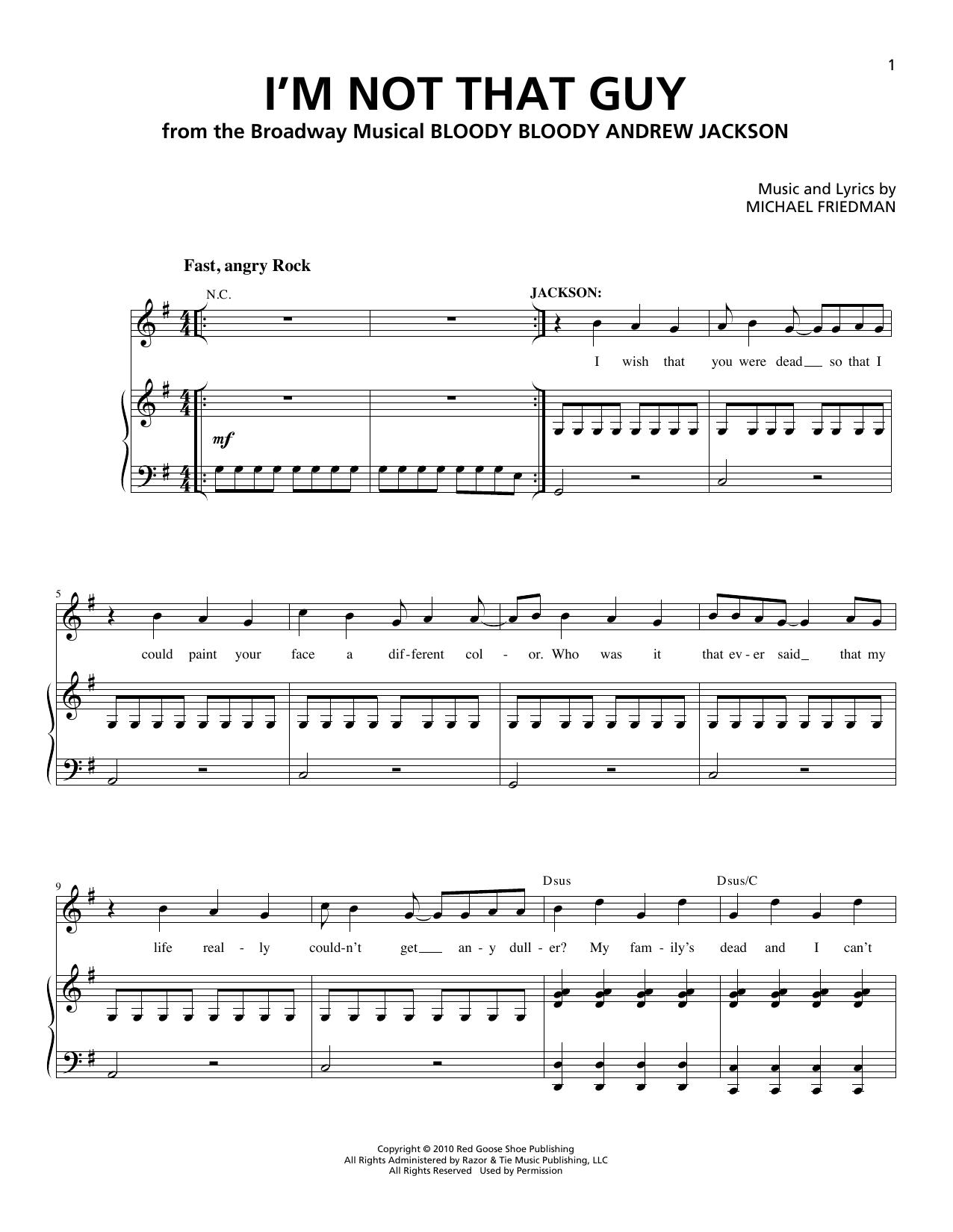 Partition piano I'm Not That Guy de Michael Friedman - Piano Voix