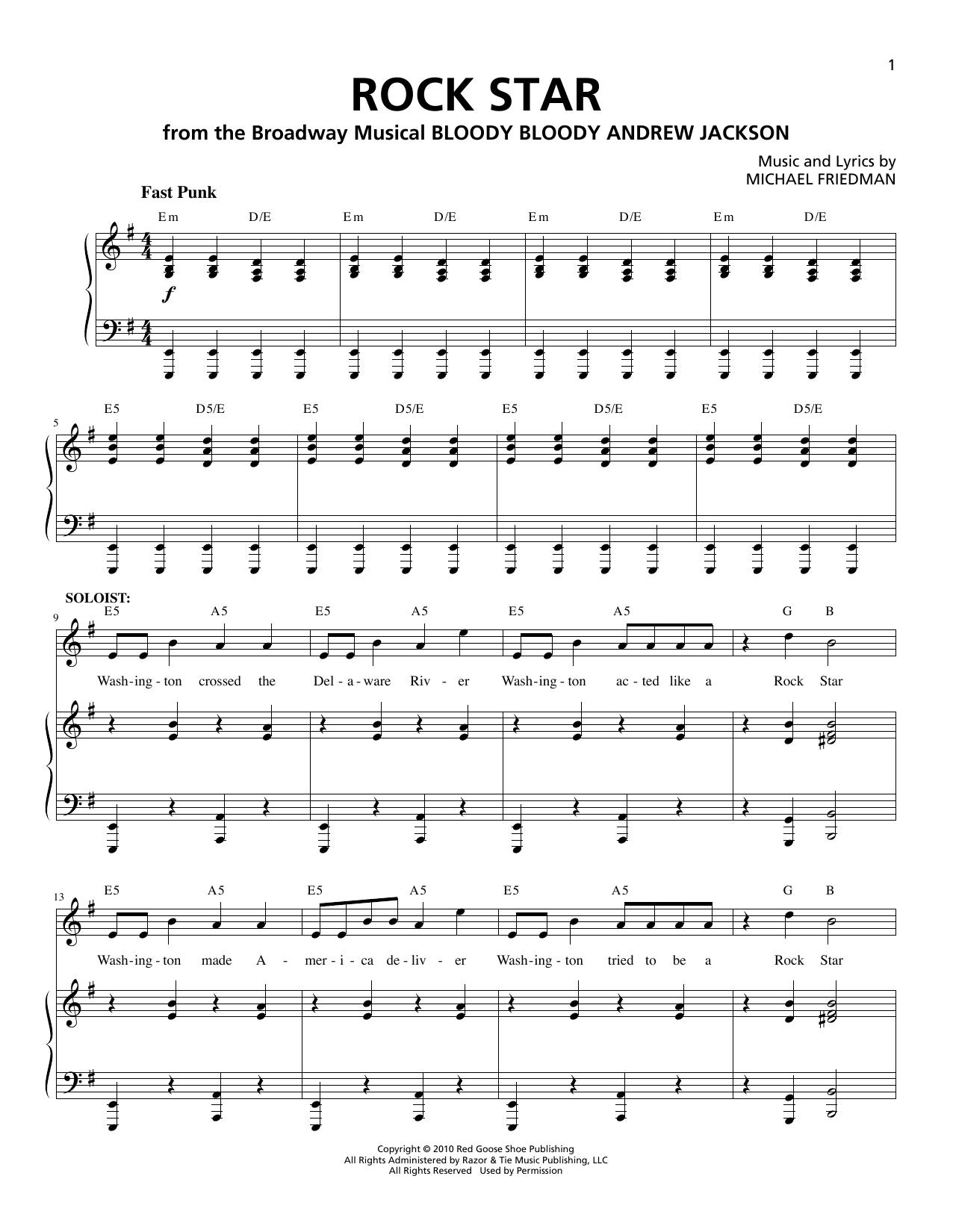 Partition piano Rock Star de Michael Friedman - Piano Voix