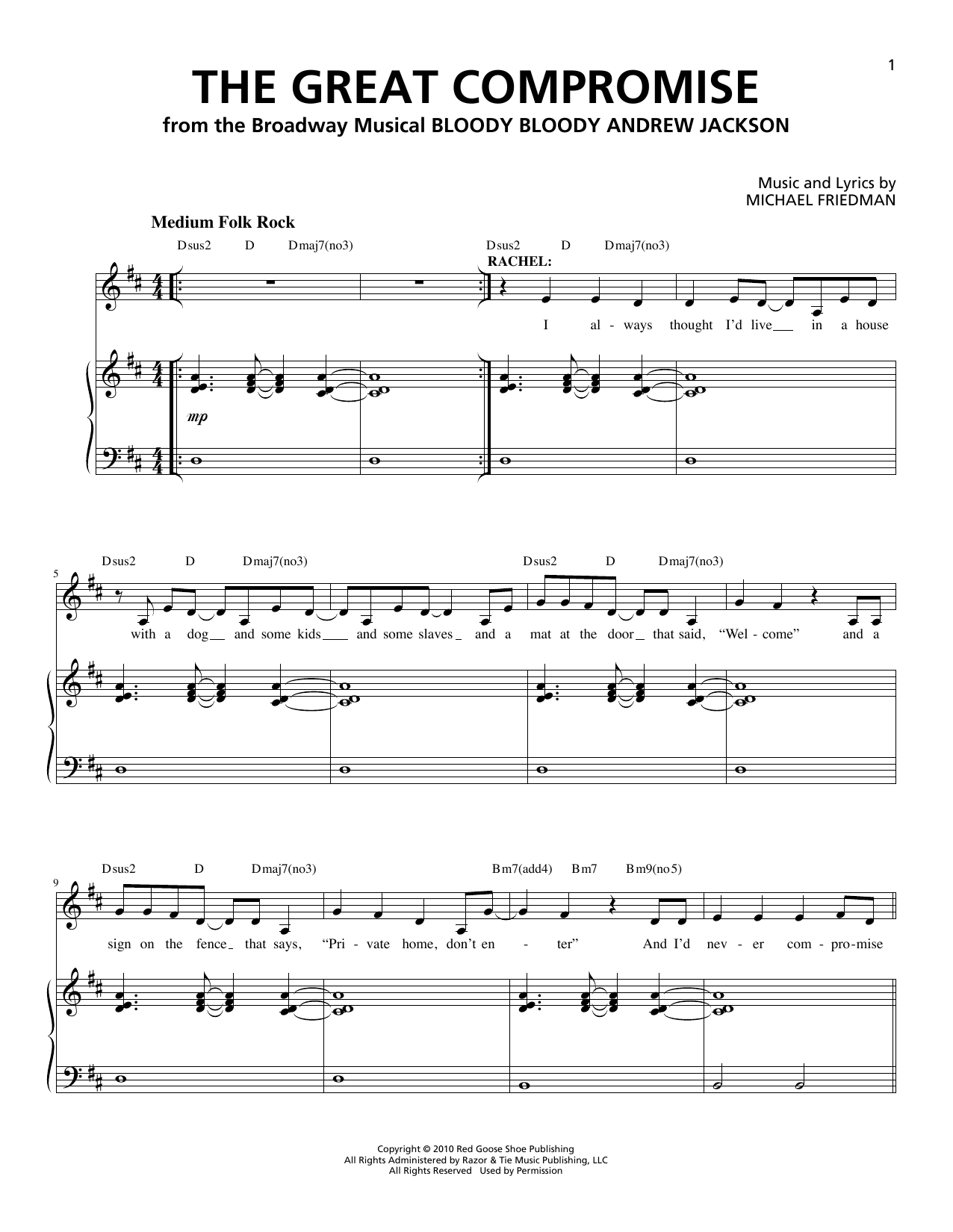 Partition piano The Great Compromise de Michael Friedman - Piano Voix