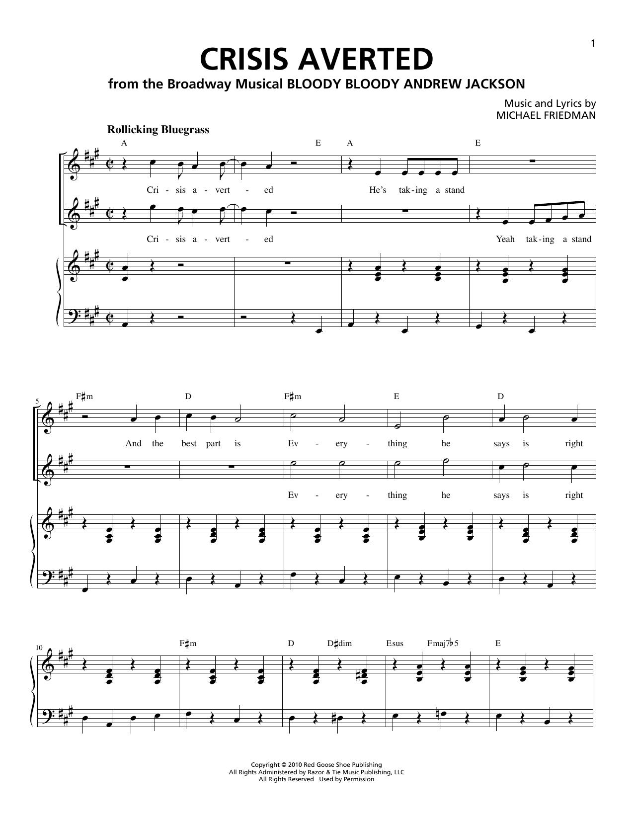 Partition piano Crisis Averted de Michael Friedman - Piano Voix
